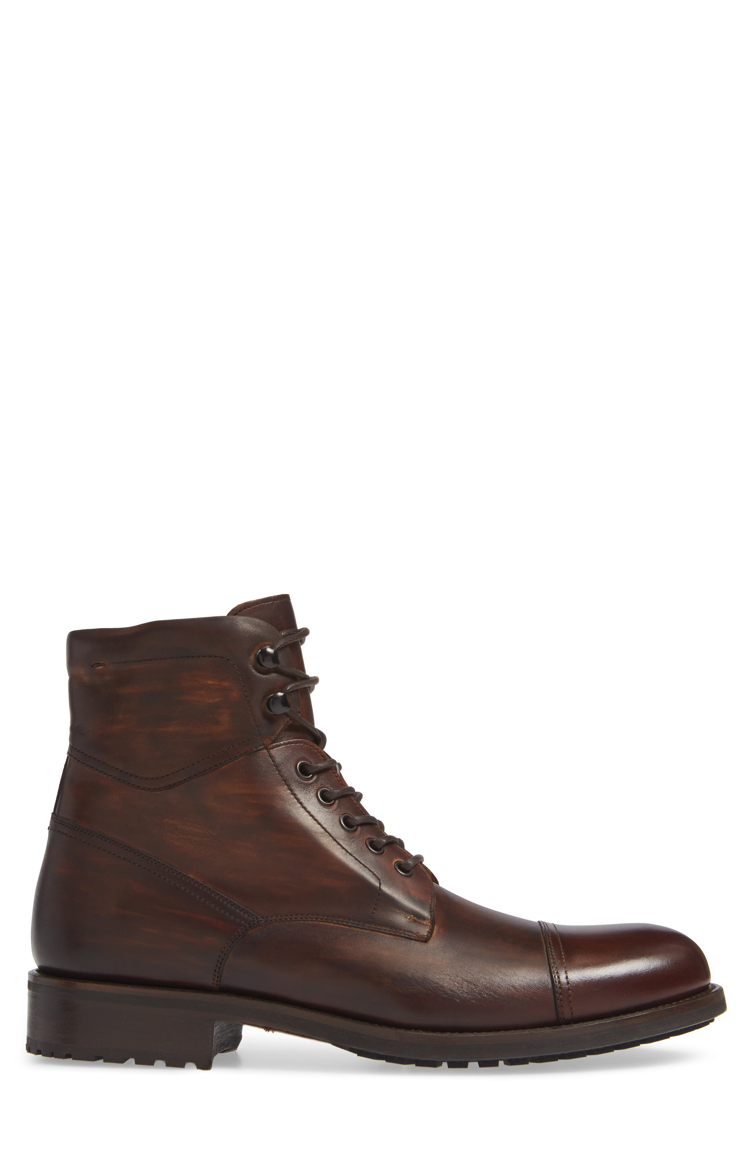 MAGNANNI, Peyton Cap Toe Boot, Alternate thumbnail 3, color, TOBACCO LEATHER
