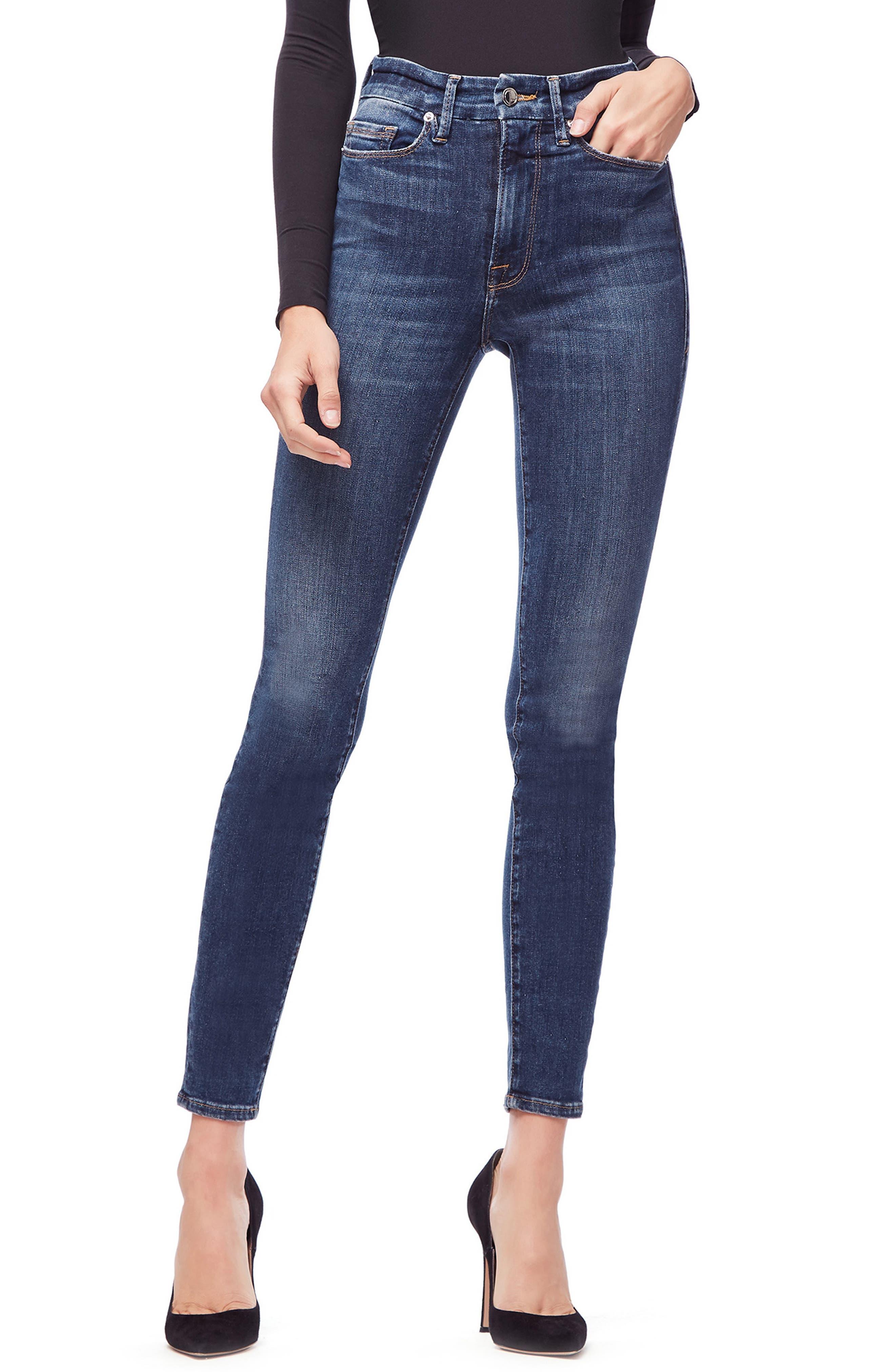 GOOD AMERICAN, Good Waist Ripped High Waist Skinny Jeans, Main thumbnail 1, color, BLUE 195
