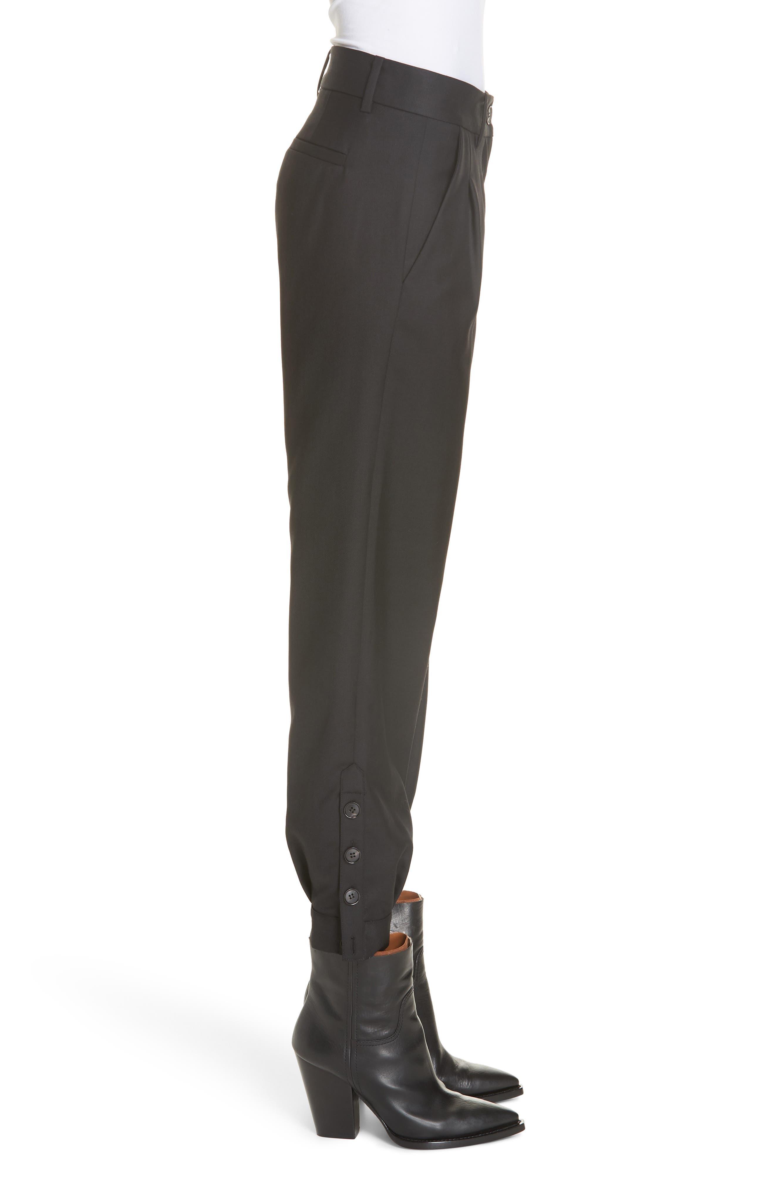NILI LOTAN, Bertina Pleated Wool Crop Pants, Alternate thumbnail 4, color, BLACK