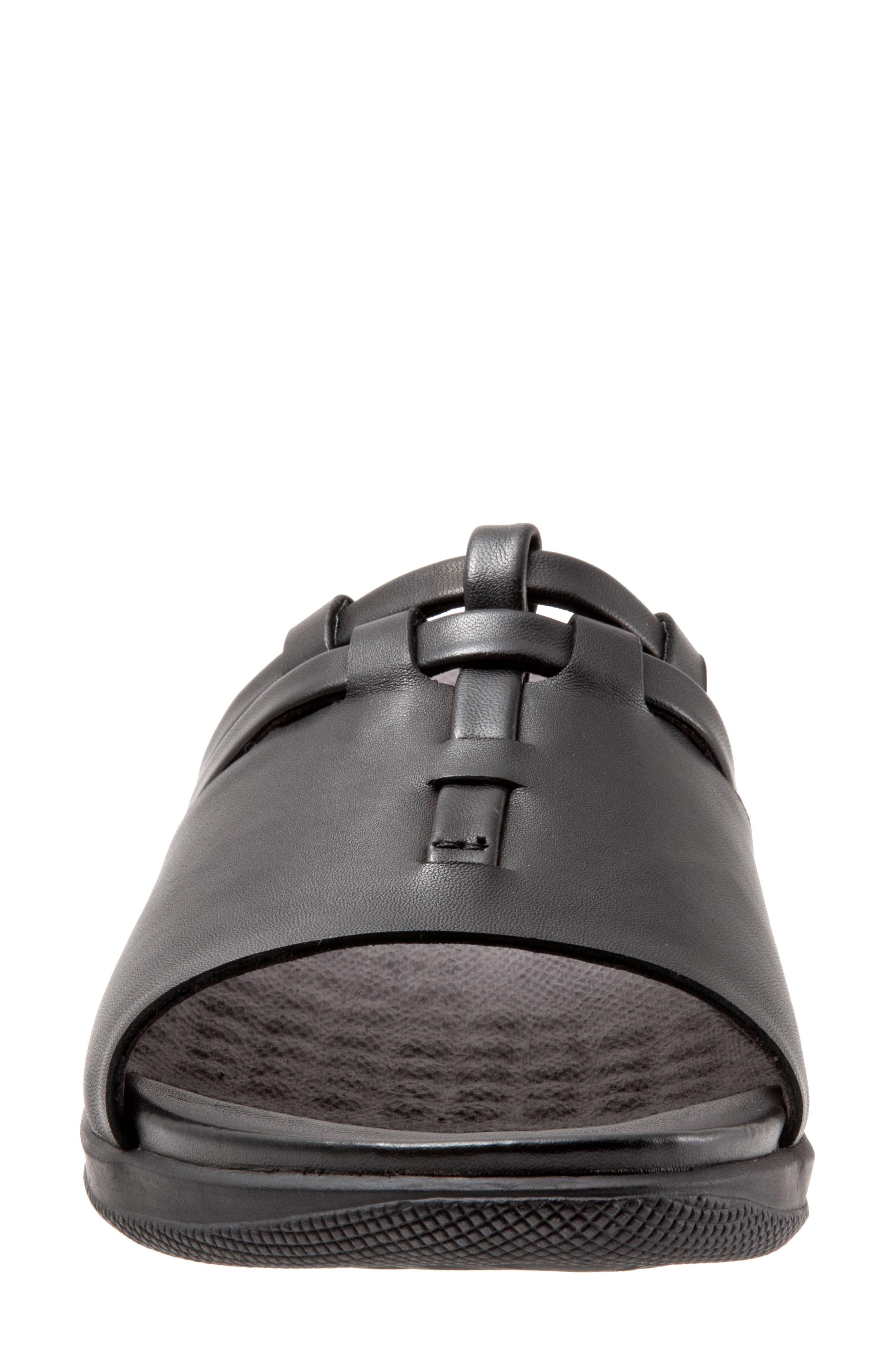 SOFTWALK<SUP>®</SUP>, Tahoma Woven Slide Sandal, Alternate thumbnail 4, color, BLACK LEATHER