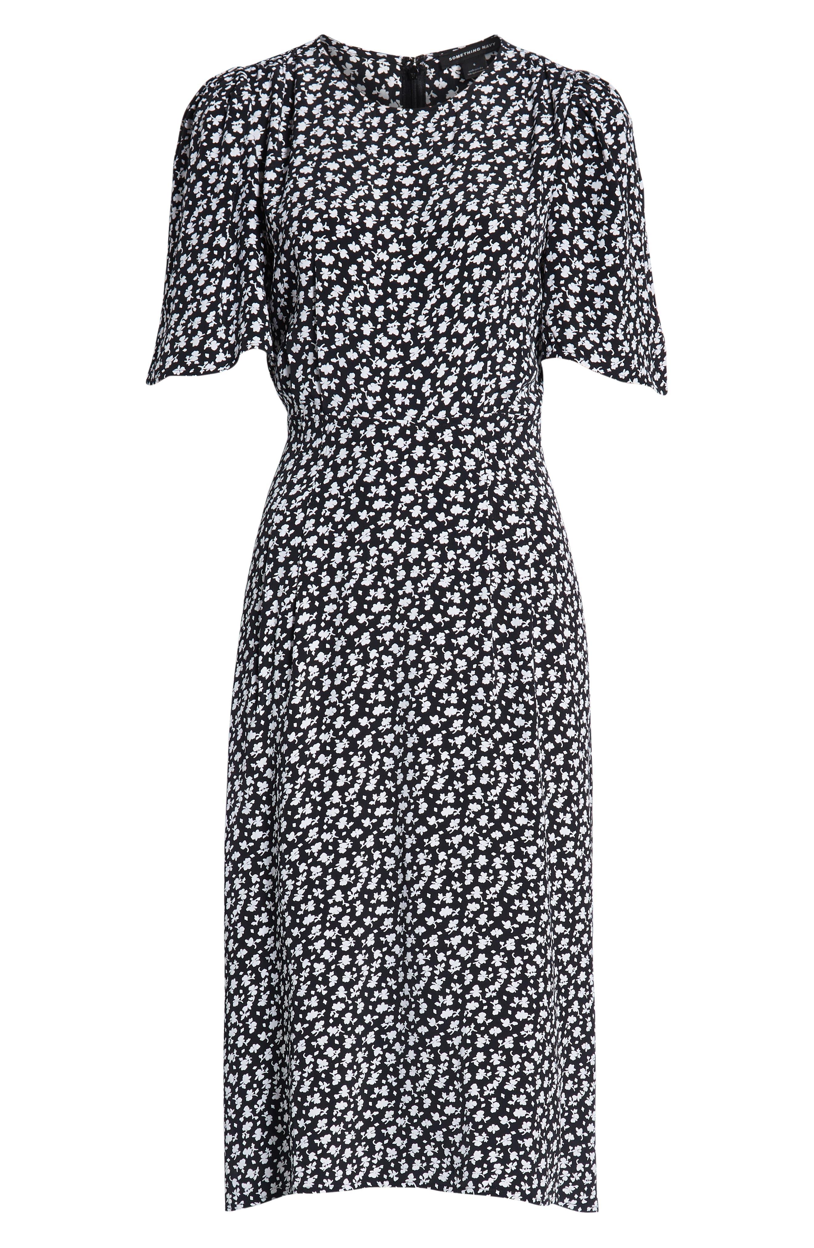 SOMETHING NAVY, Strong Shoulder Floral Print Midi Dress, Alternate thumbnail 8, color, SN BLACK VINTAGE FLORAL