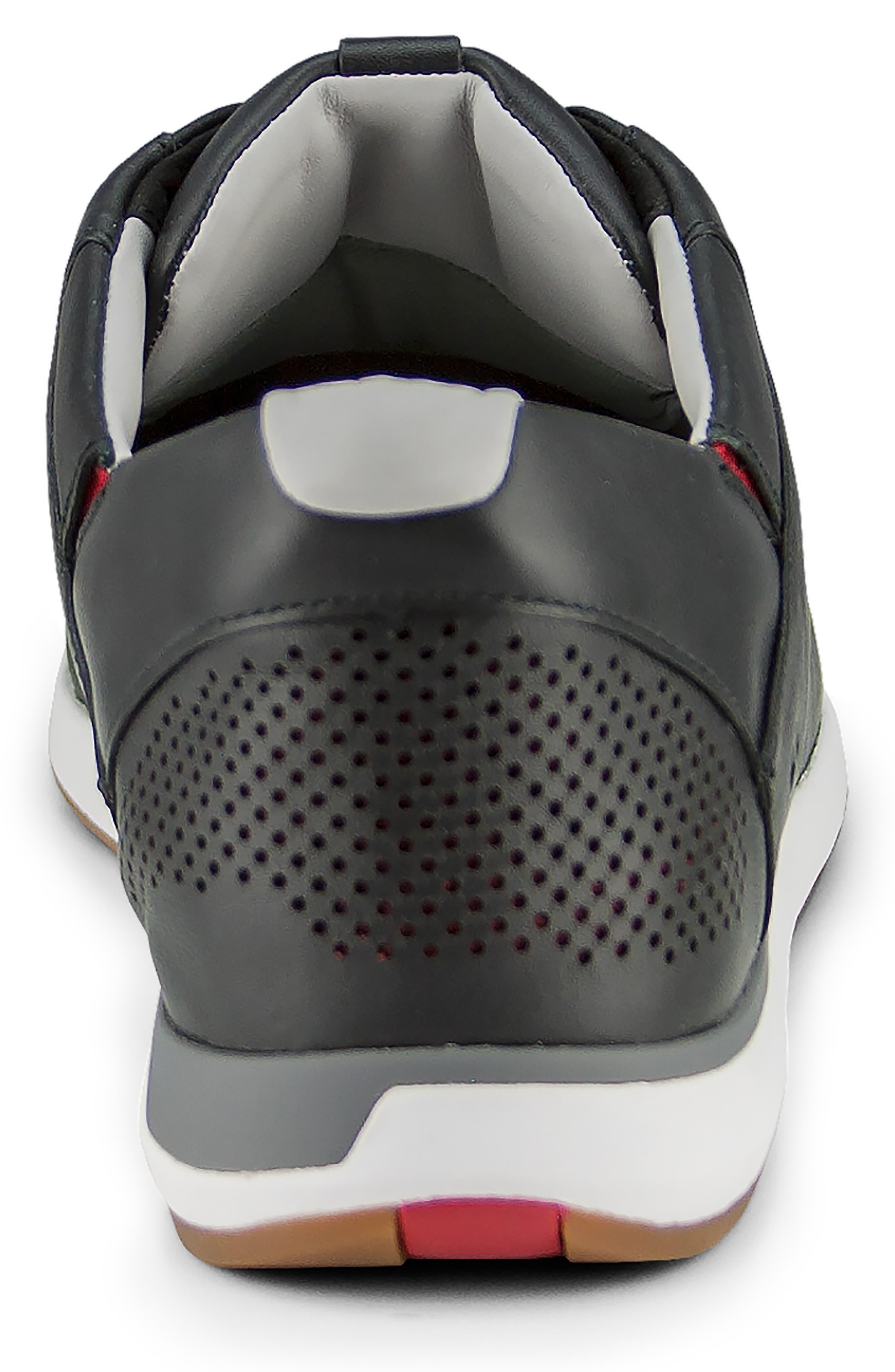KIZIK, Dubai Slip-On Sneaker, Alternate thumbnail 6, color, BLACK LEATHER