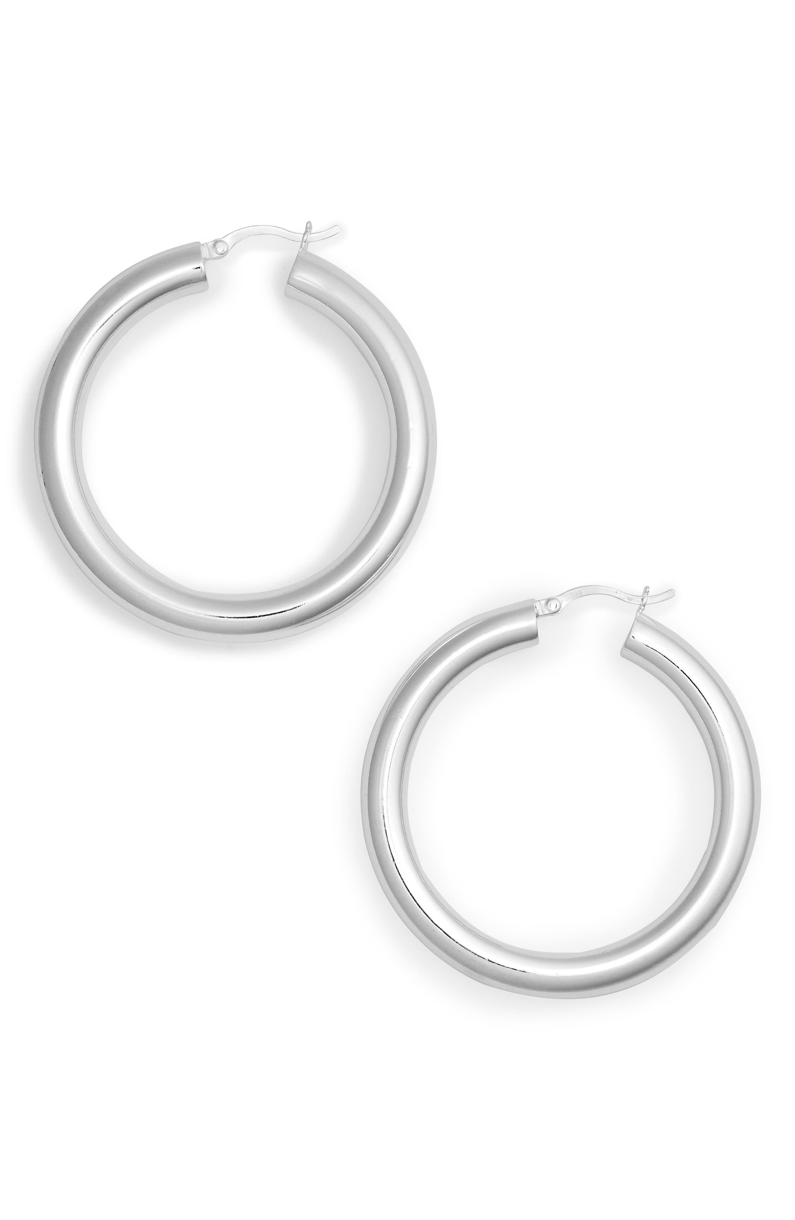 ARGENTO VIVO, Medium Hollow Hoop Earrings, Main thumbnail 1, color, SILVER