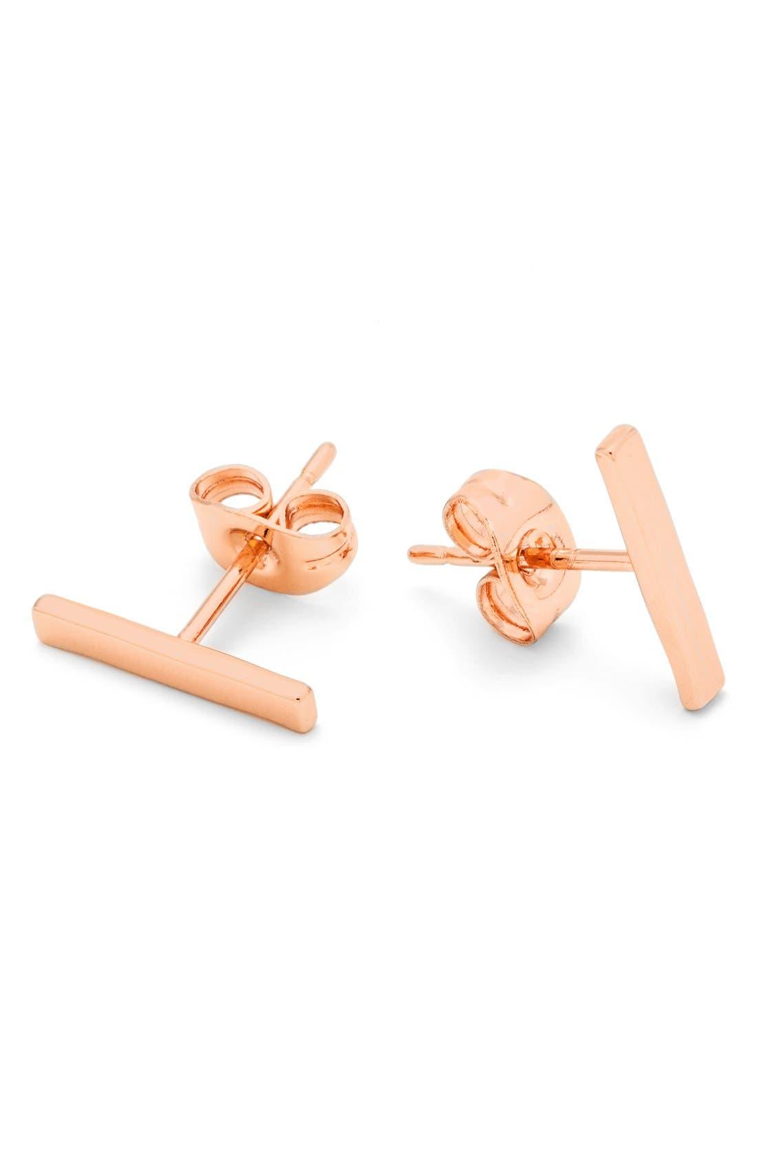 GORJANA, Taner Mini Stud Earrings, Alternate thumbnail 3, color, ROSE GOLD