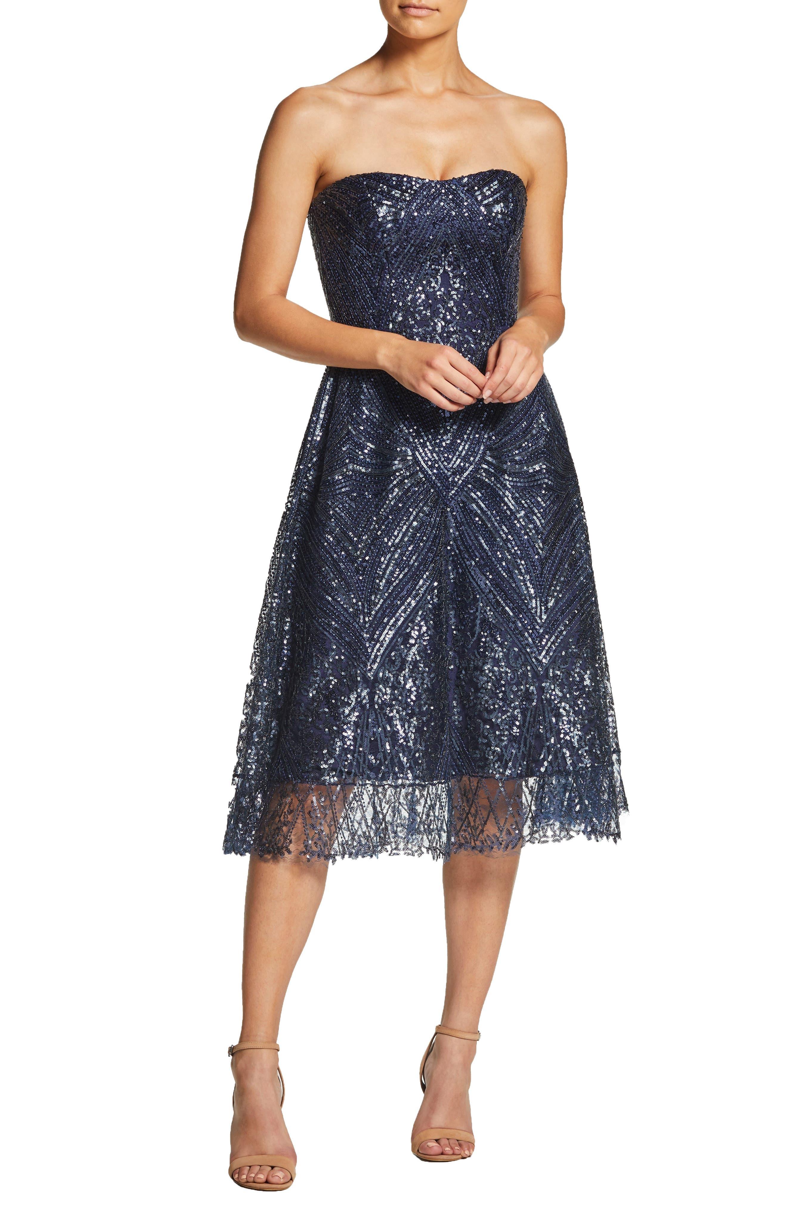 Dress The Population Sarah Sequin Strapless Fit & Flare Dress, Blue