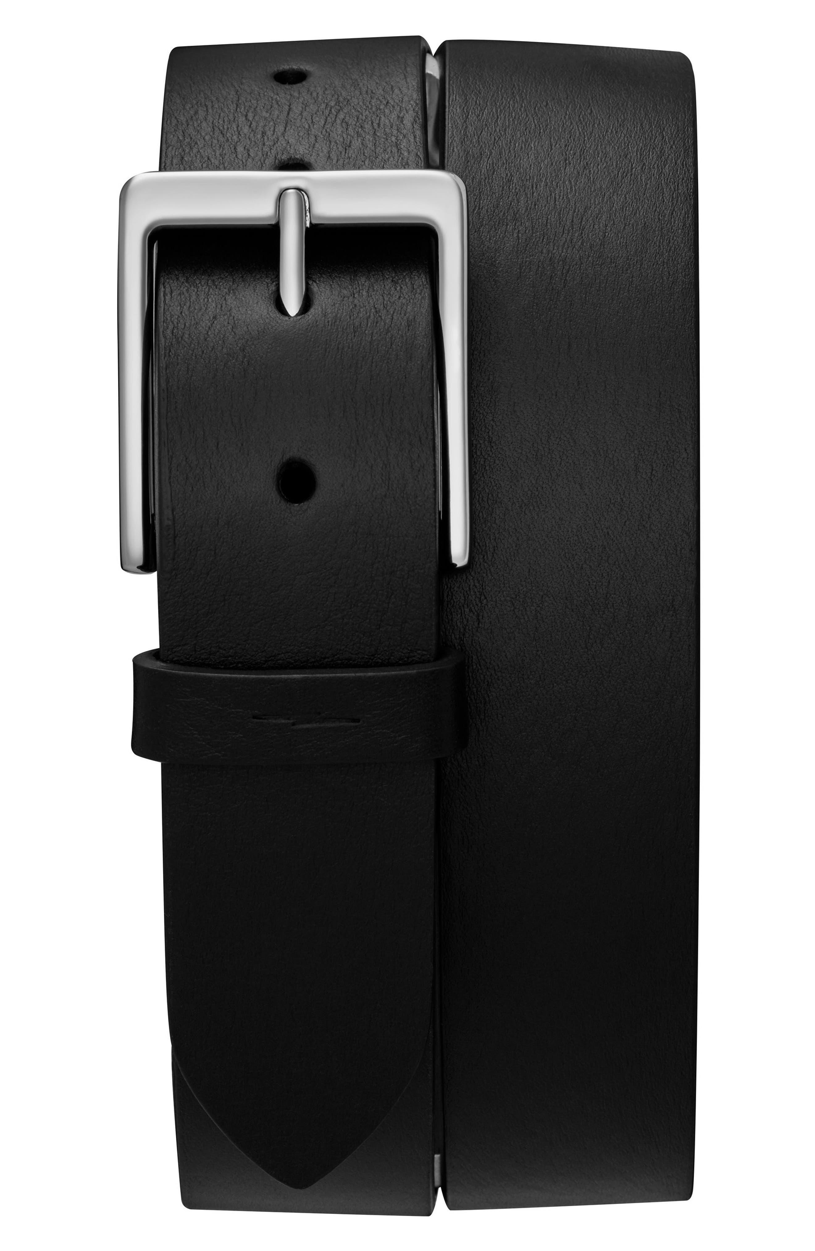 SHINOLA Lightning Bolt Keeper Belt, Main, color, BLACK