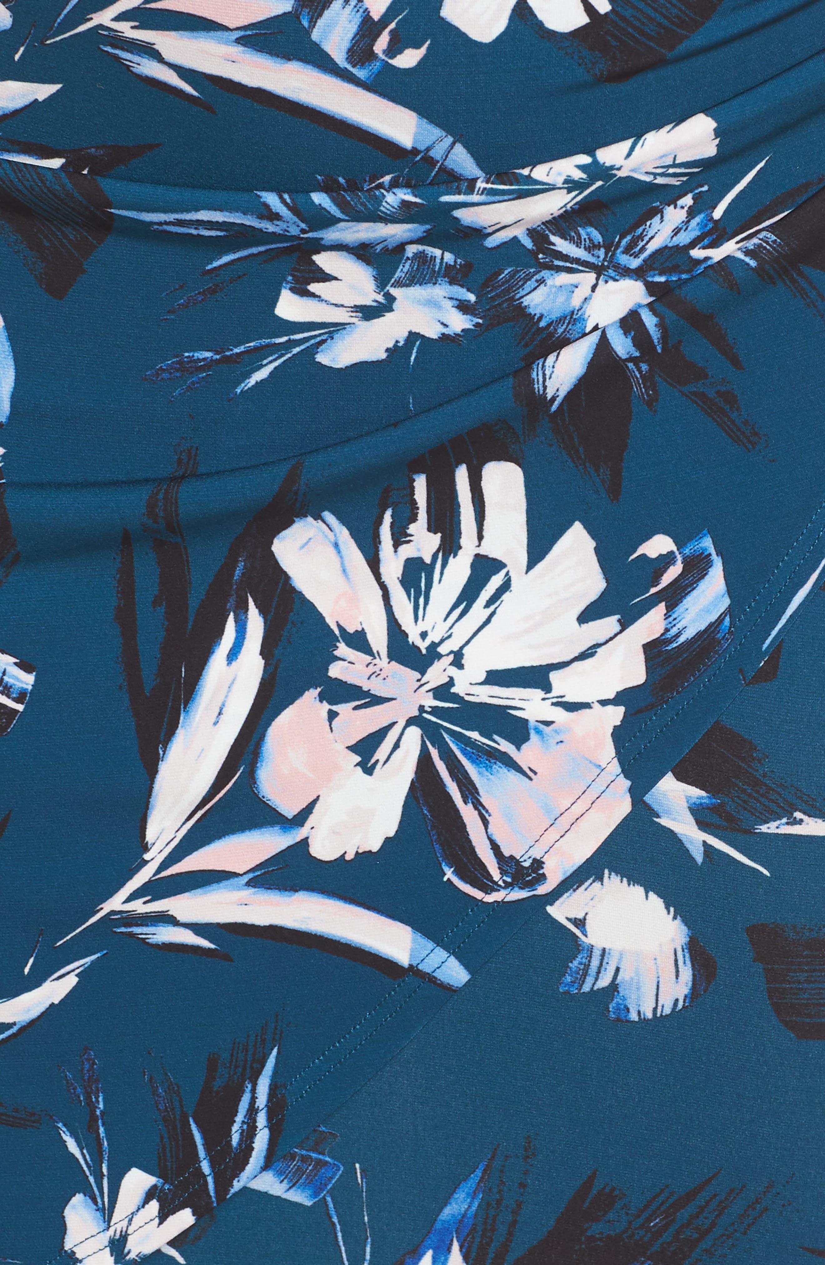 ELIZA J, Faux Wrap Floral Shirtdress, Alternate thumbnail 6, color, GREEN