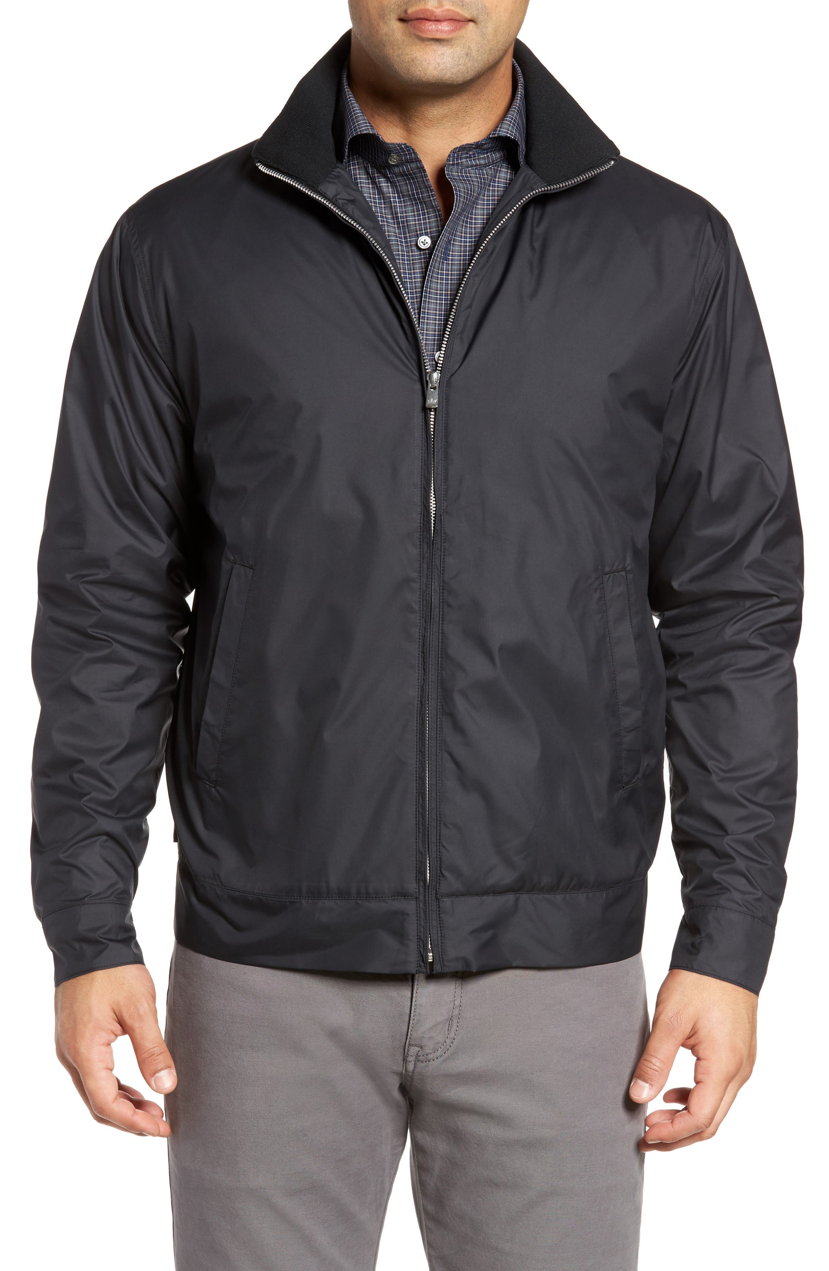 PETER MILLAR, Zip Jacket, Main thumbnail 1, color, BLACK