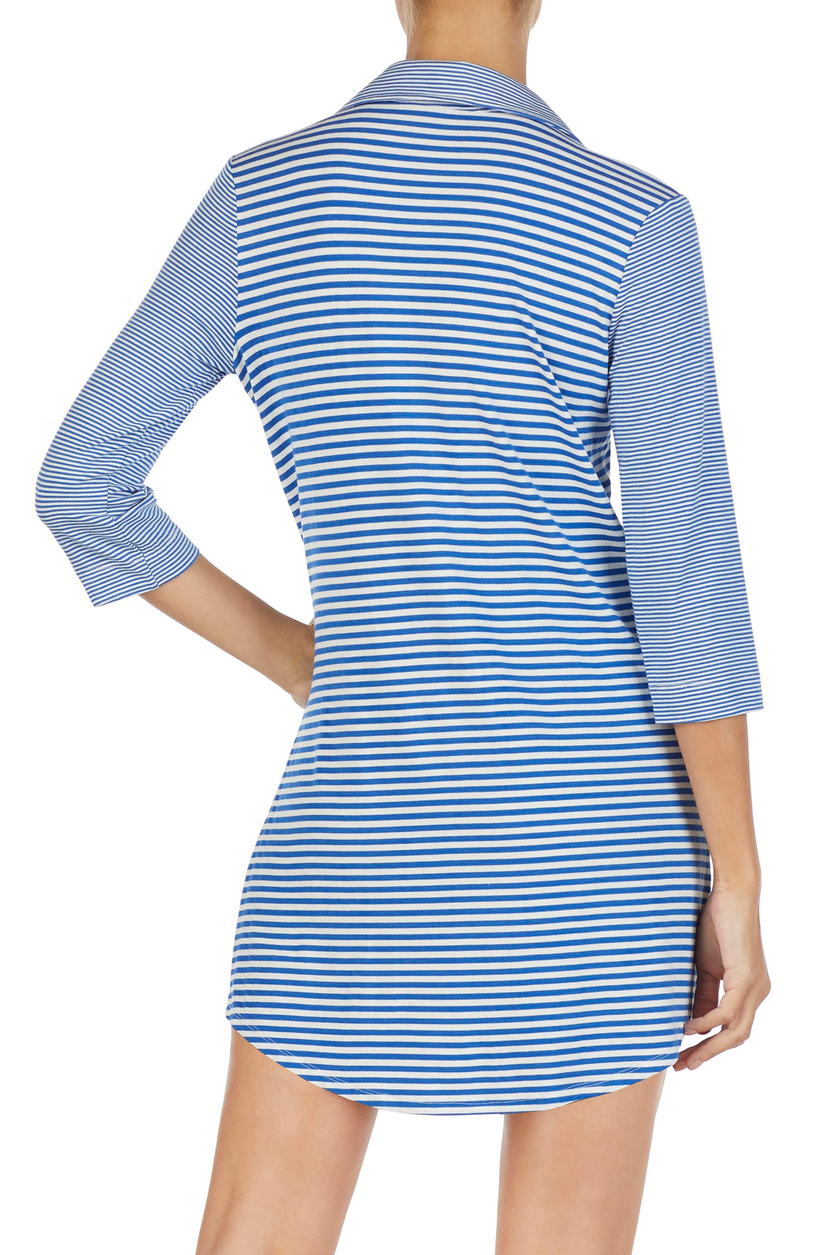 LAUREN RALPH LAUREN, Stripe Sleep Shirt, Alternate thumbnail 2, color, BLUE STRIPE