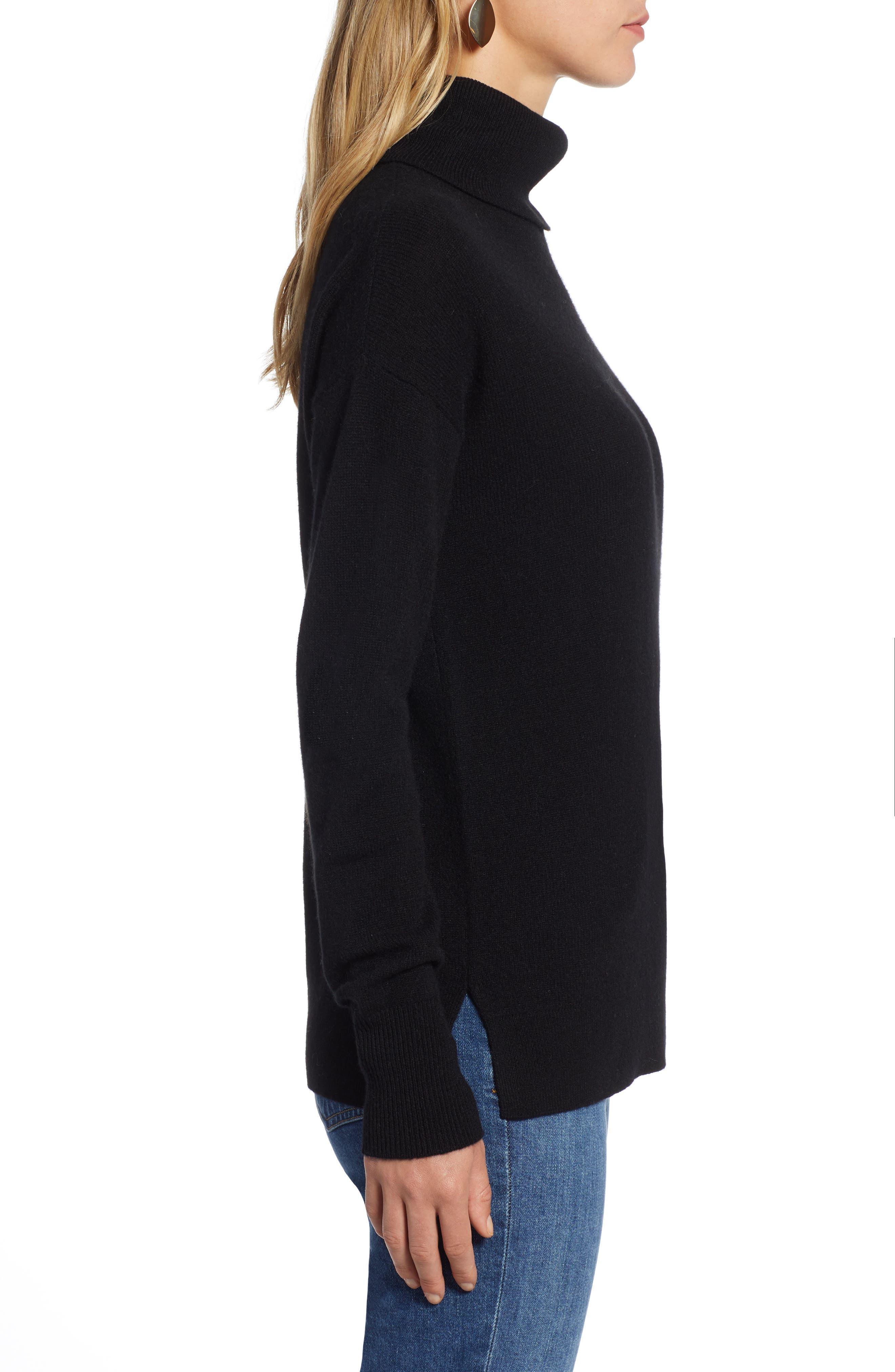 HALOGEN<SUP>®</SUP>, Cashmere Turtleneck Sweater, Alternate thumbnail 3, color, 001