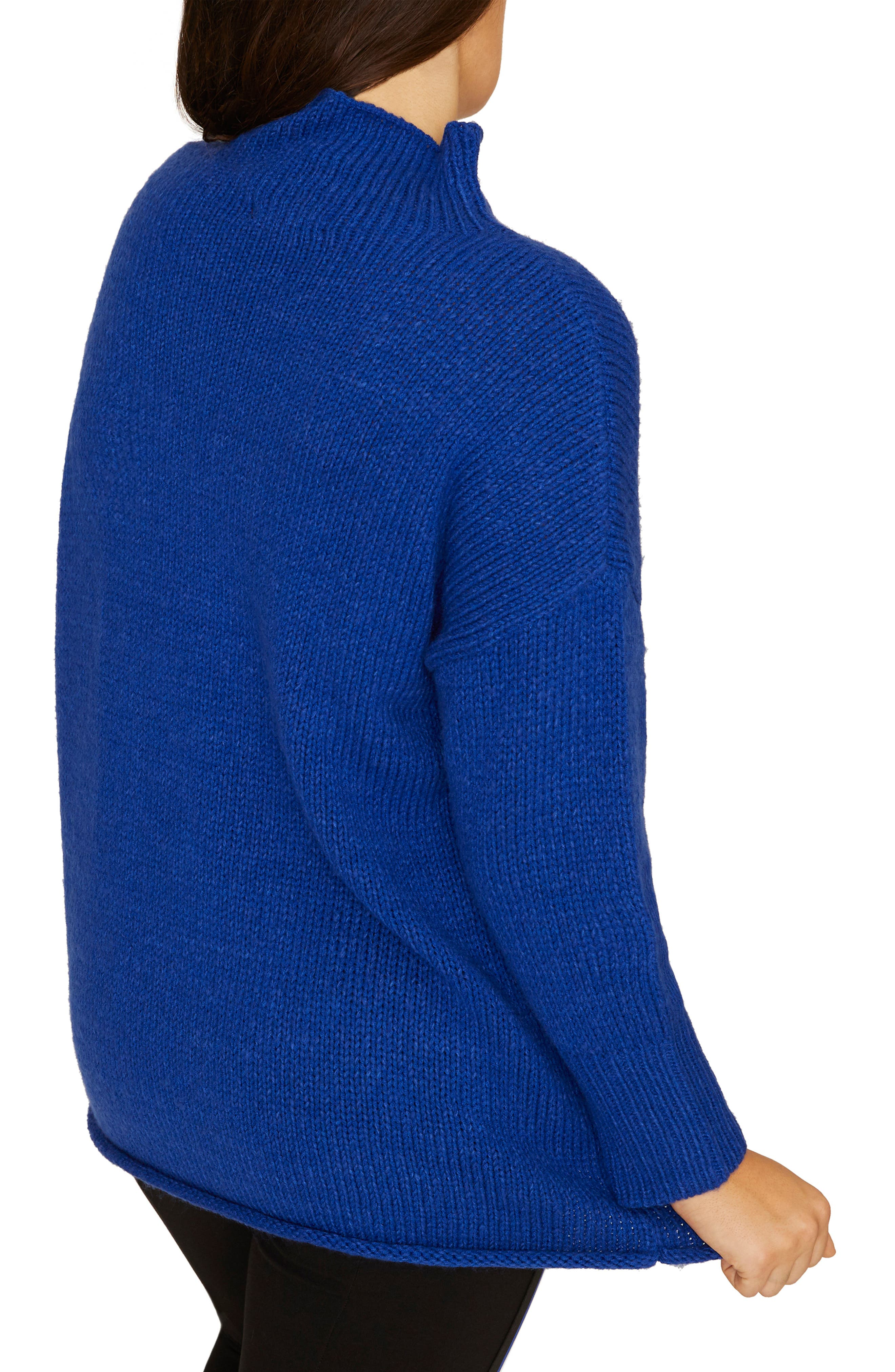 SANCTUARY, Supersized Curl Up Sweater, Alternate thumbnail 2, color, ELECTRIC BLUE