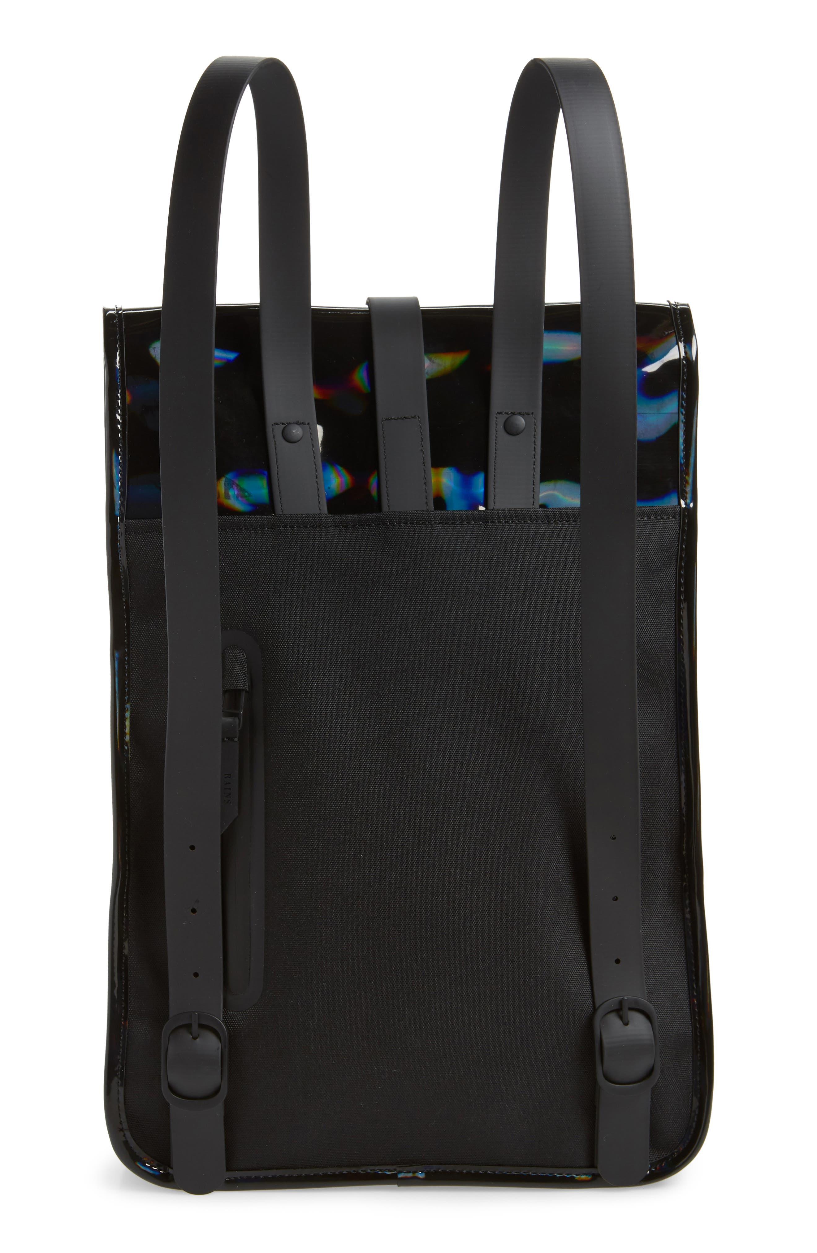 RAINS, Mini Waterproof Holographic Backpack, Alternate thumbnail 3, color, BLACK