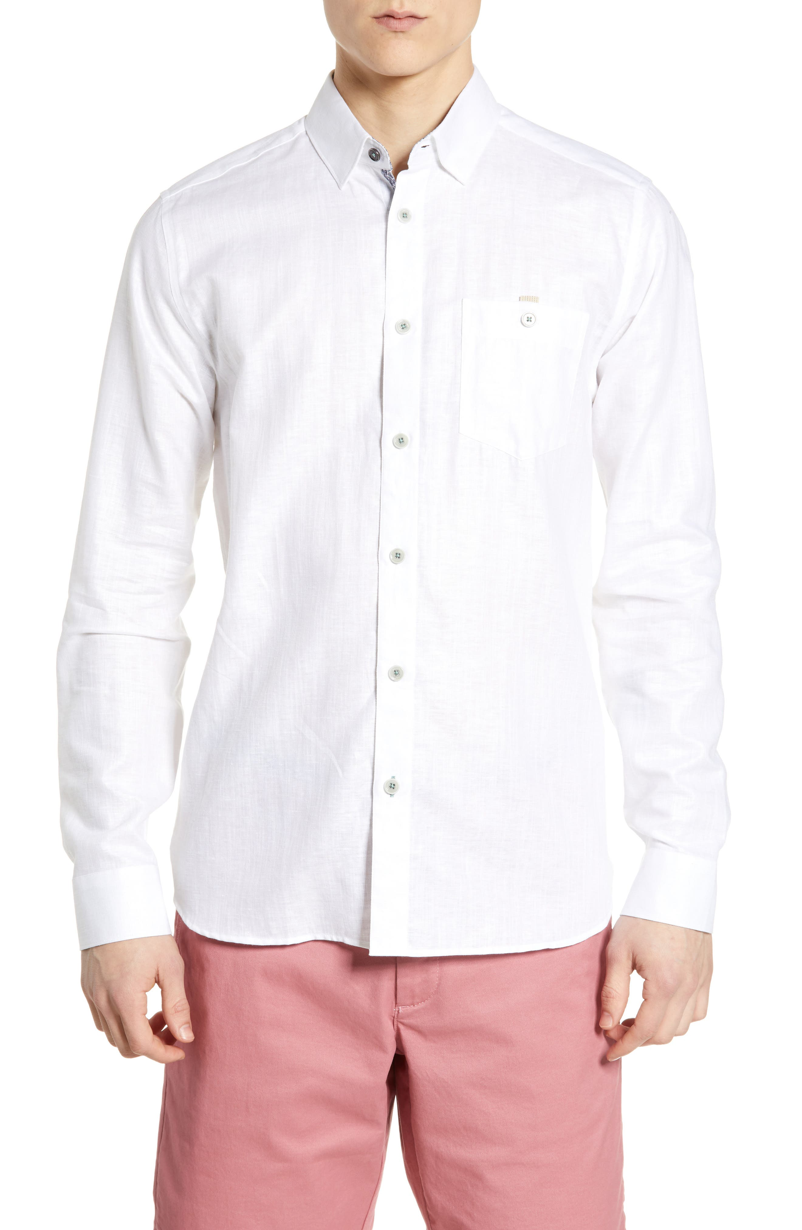 TED BAKER LONDON, Emuu Slim Fit Linen Shirt, Main thumbnail 1, color, WHITE