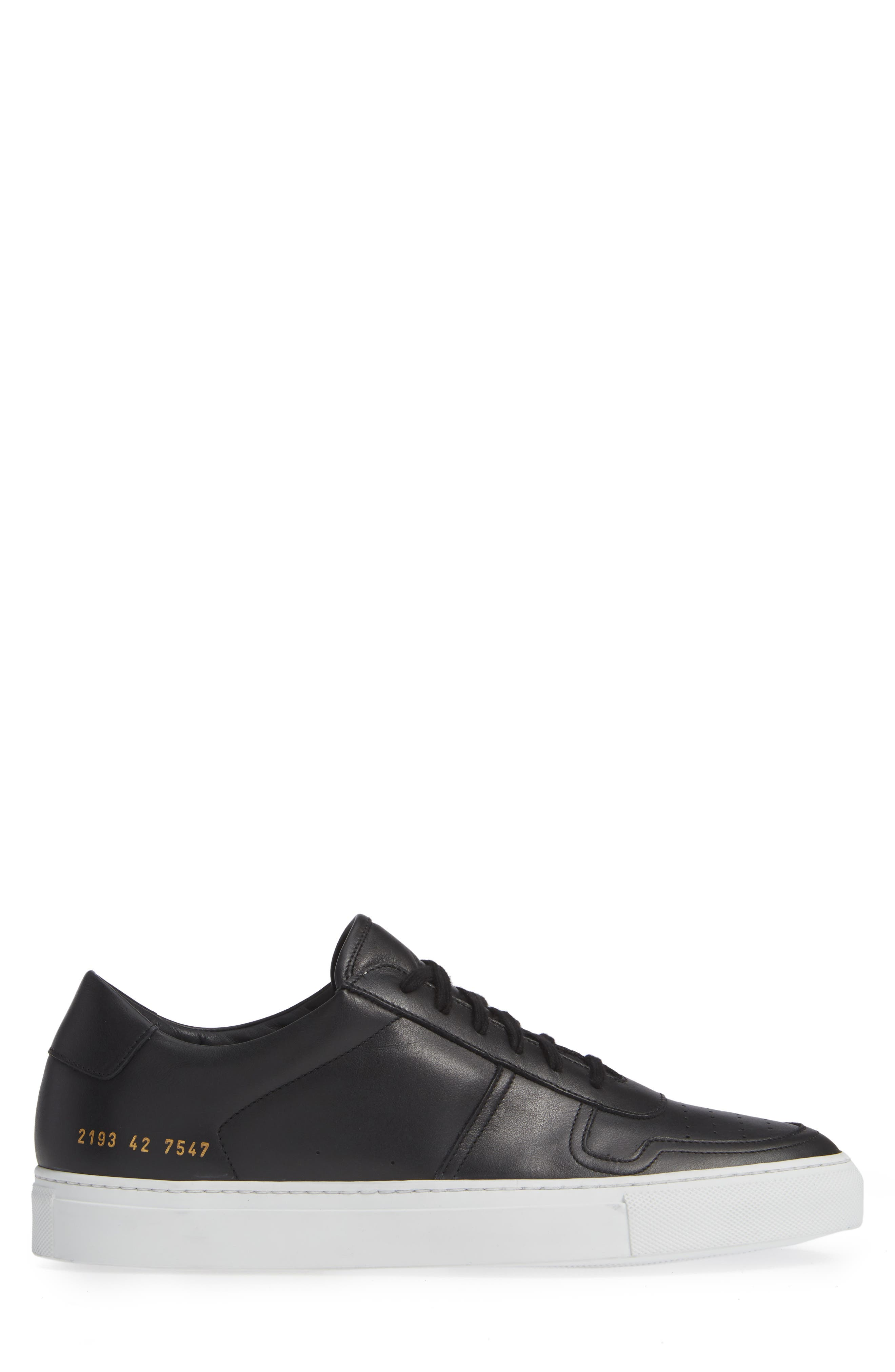 COMMON PROJECTS, Bball Low Top Sneaker, Alternate thumbnail 3, color, BLACK