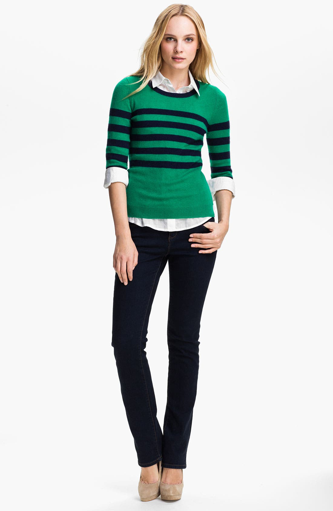 ONLY MINE, Stripe Cashmere Sweater, Alternate thumbnail 2, color, 366