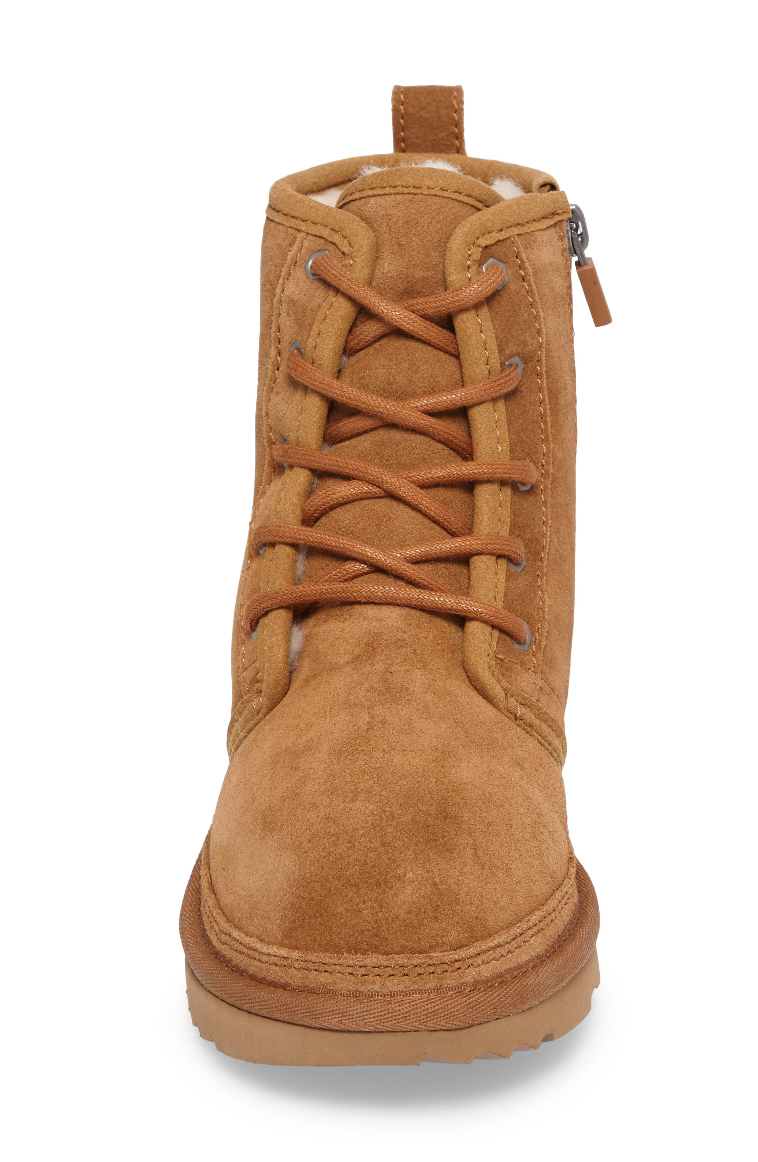 UGG<SUP>®</SUP>, Harkley Lace-Up Boot, Alternate thumbnail 4, color, CHESTNUT
