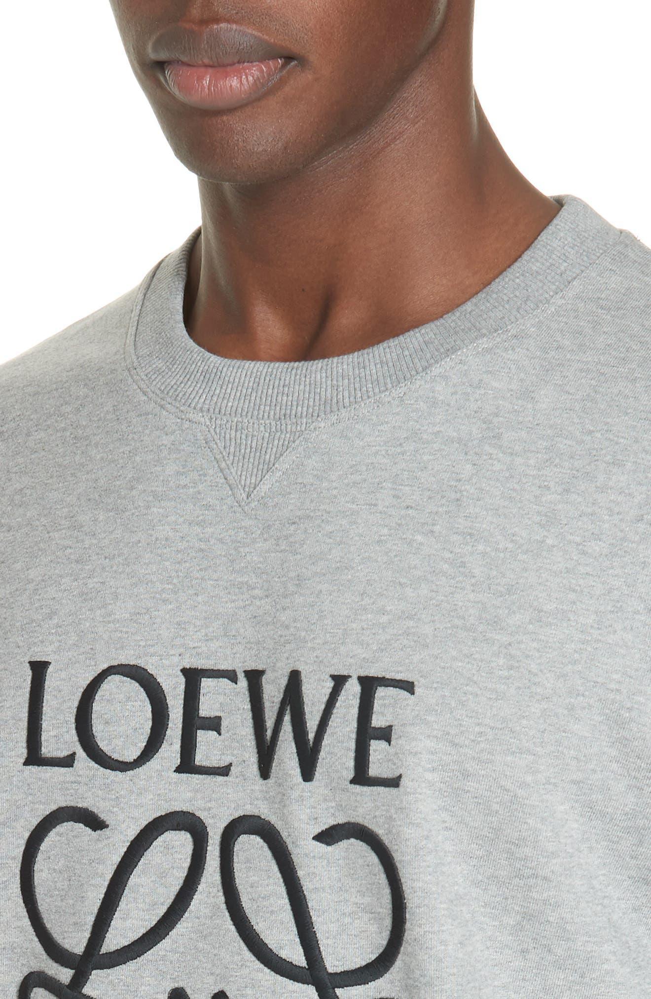 LOEWE, Embroidered Anagram Logo Sweatshirt, Alternate thumbnail 4, color, 1120 GREY