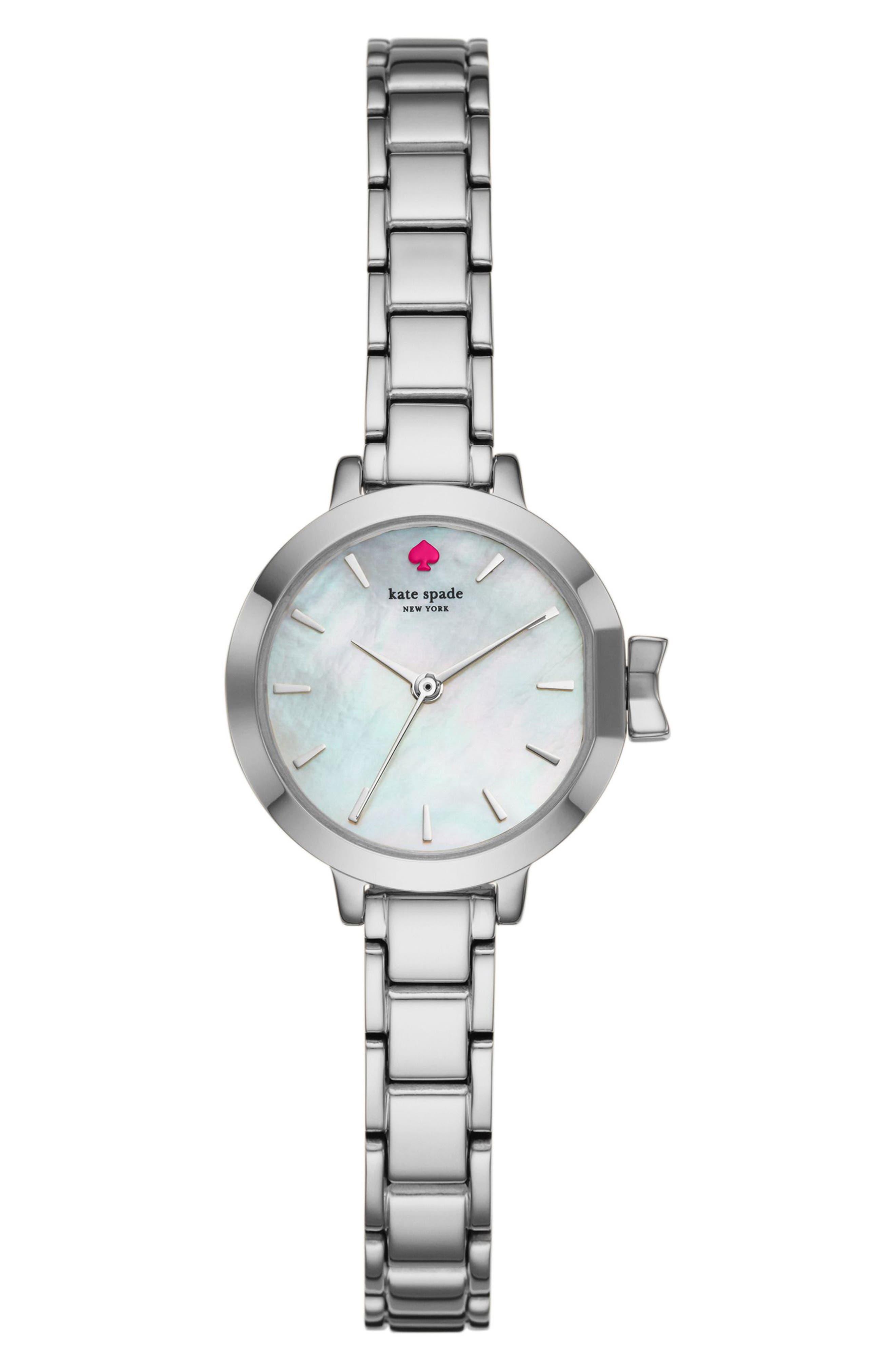 KATE SPADE NEW YORK park row bracelet watch, 24mm, Main, color, SILVER/ MOP/ SILVER