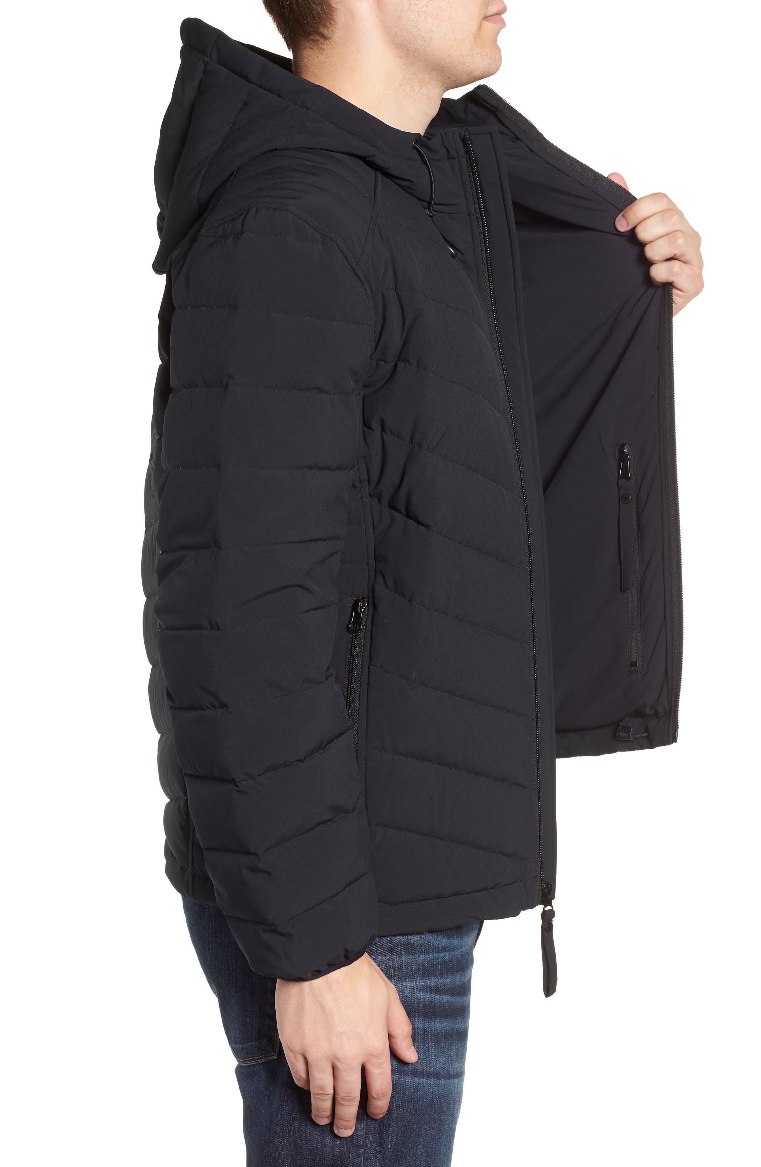 MARC NEW YORK, Delavan Down Hooded Jacket, Alternate thumbnail 3, color, BLACK