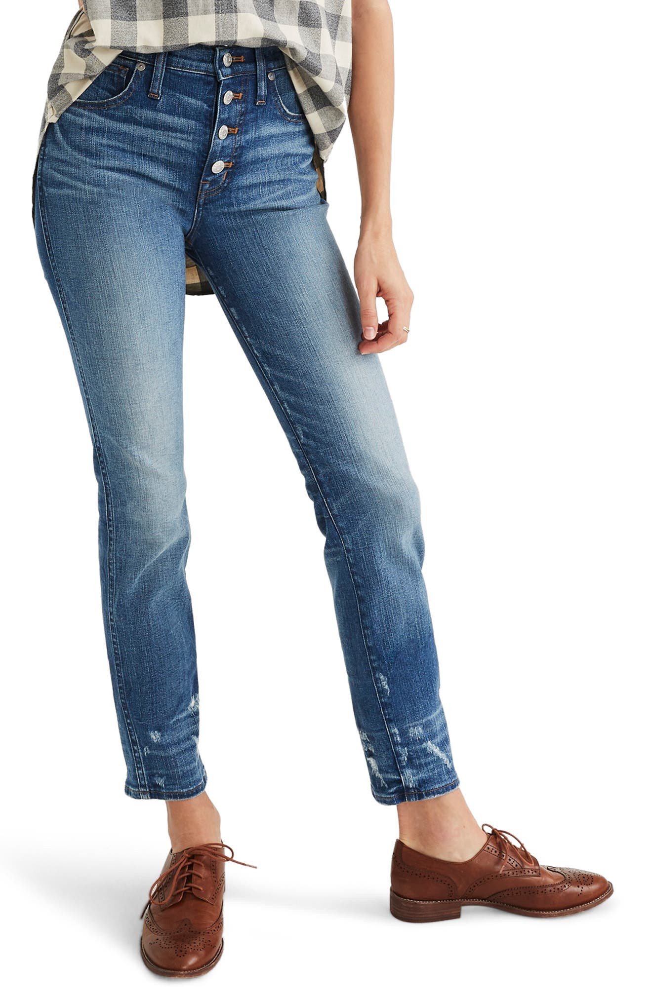 MADEWELL, Distressed Button Front High Waist Slim Straight Jeans, Main thumbnail 1, color, CAROLINE