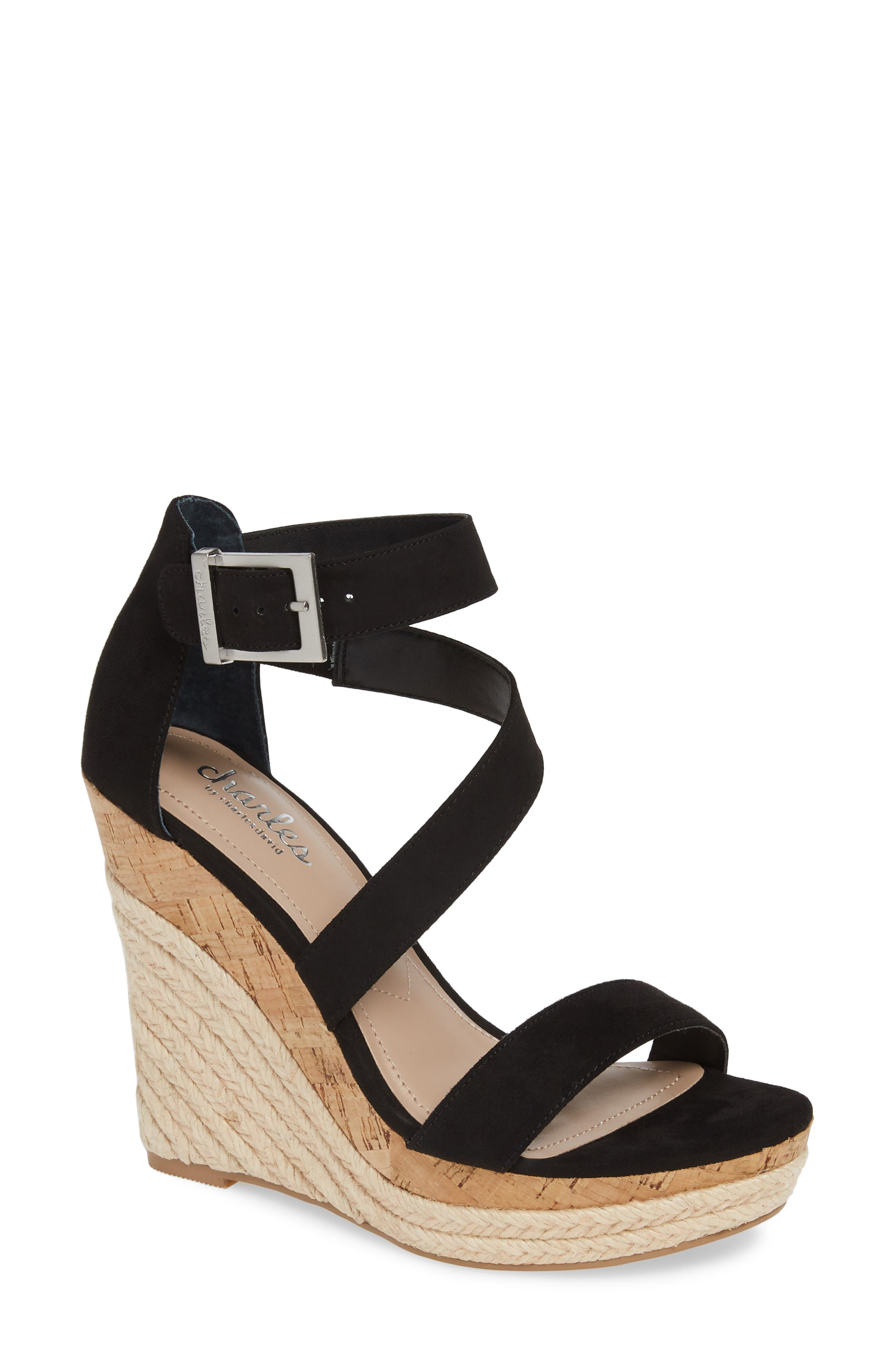 CHARLES BY CHARLES DAVID Adrielle Asymmetrical Platform Wedge Sandal, Main, color, BLACK FABRIC