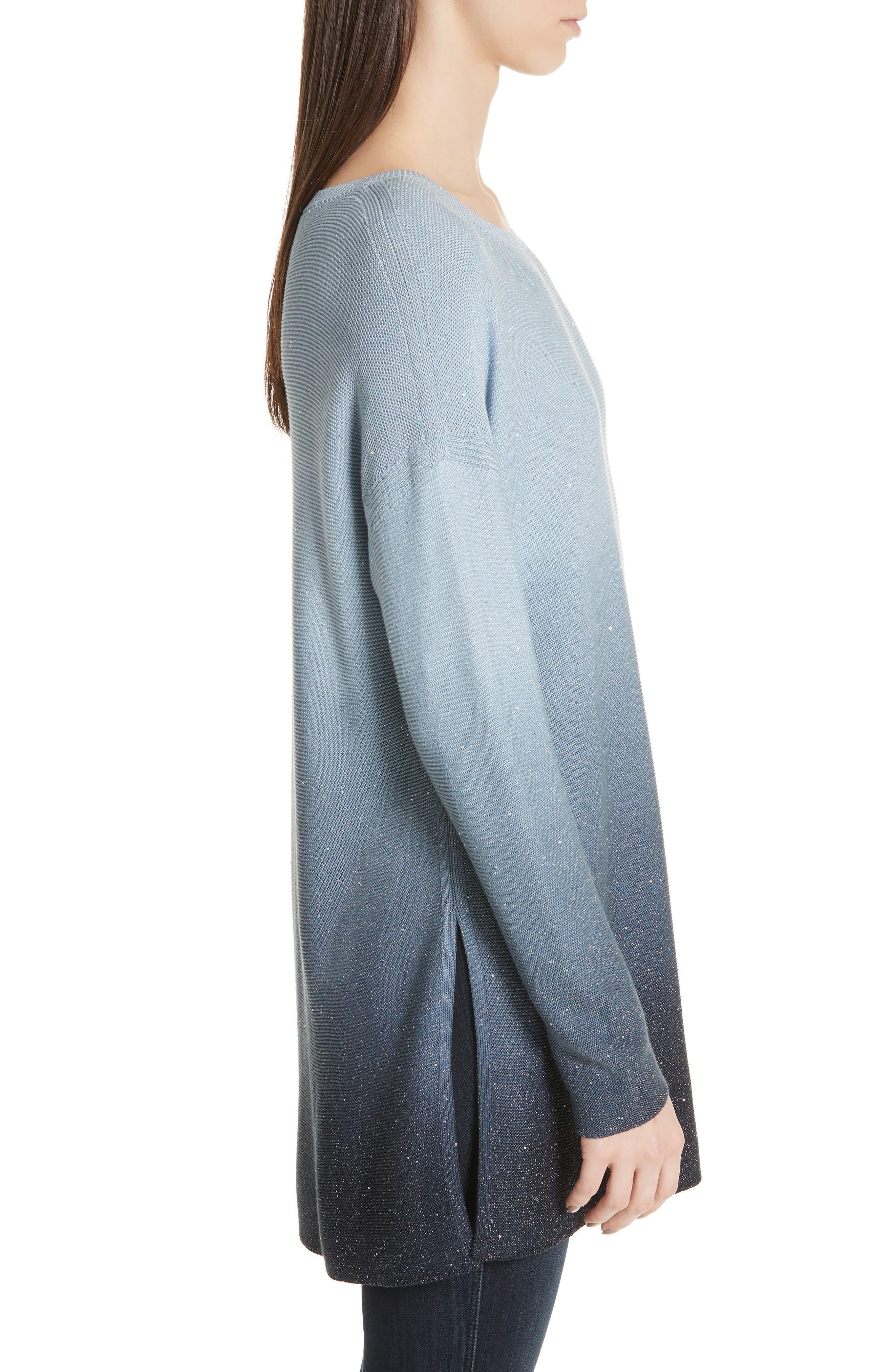 LAFAYETTE 148 NEW YORK, Sequin Ombré Silk Blend Tunic, Alternate thumbnail 3, color, SLATE BLUE MULTI