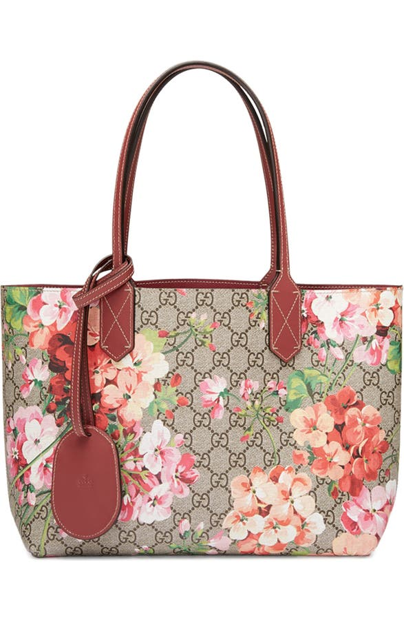 d566a5748e6 Gucci Small GG Blooms Reversible Canvas   Leather Tote