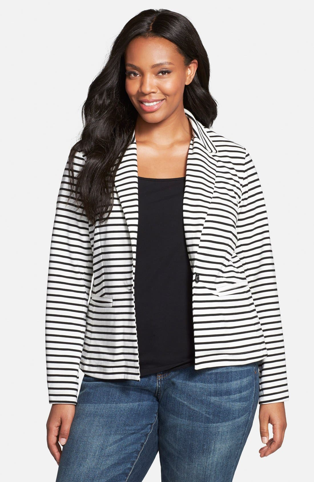 JUNAROSE, 'Destiny' Stripe One-Button Blazer, Main thumbnail 1, color, 100