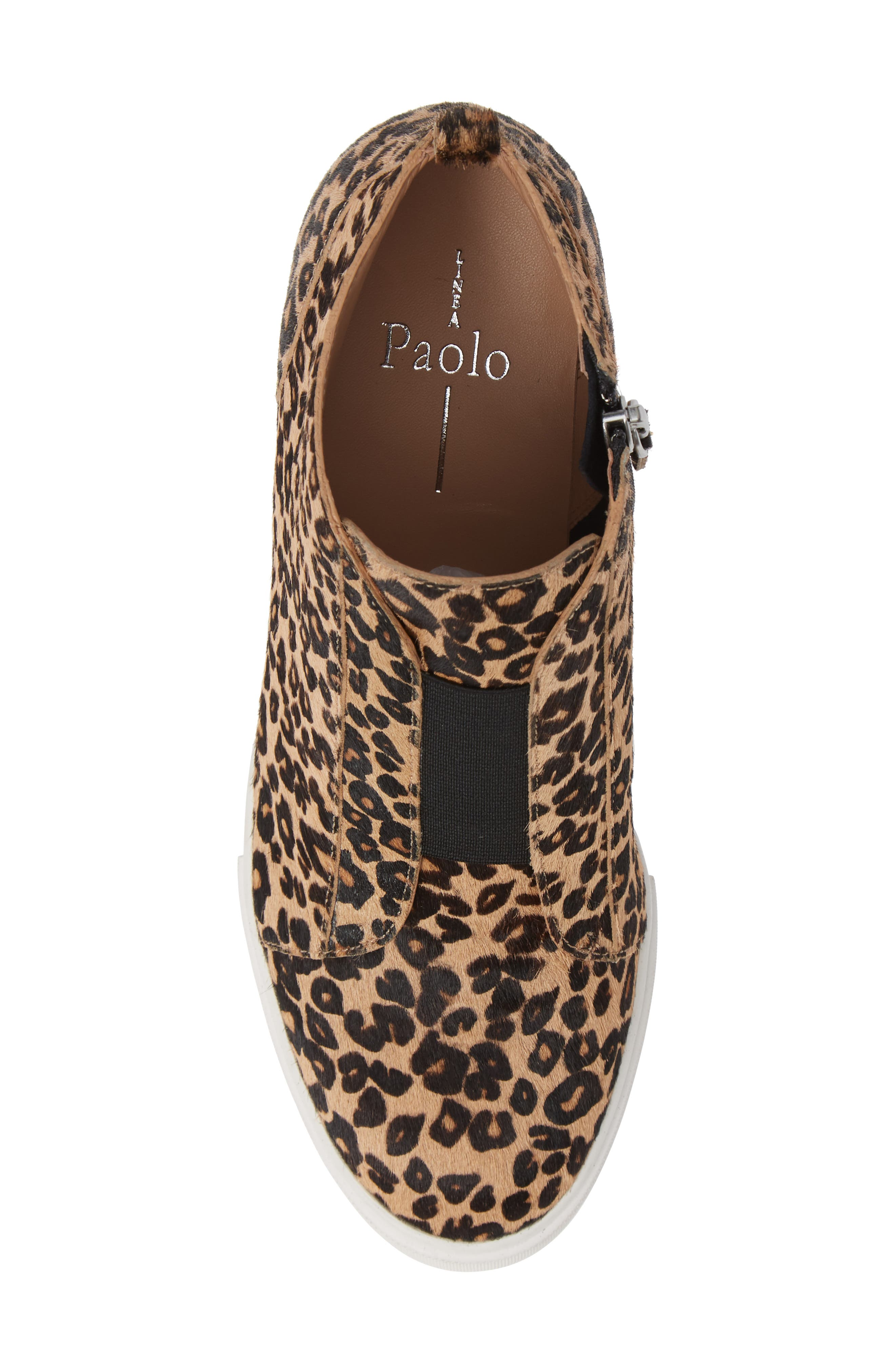LINEA PAOLO, Felicia III Genuine Calf Hair Wedge Sneaker, Alternate thumbnail 5, color, LEOPARD PRINT HAIR CALF