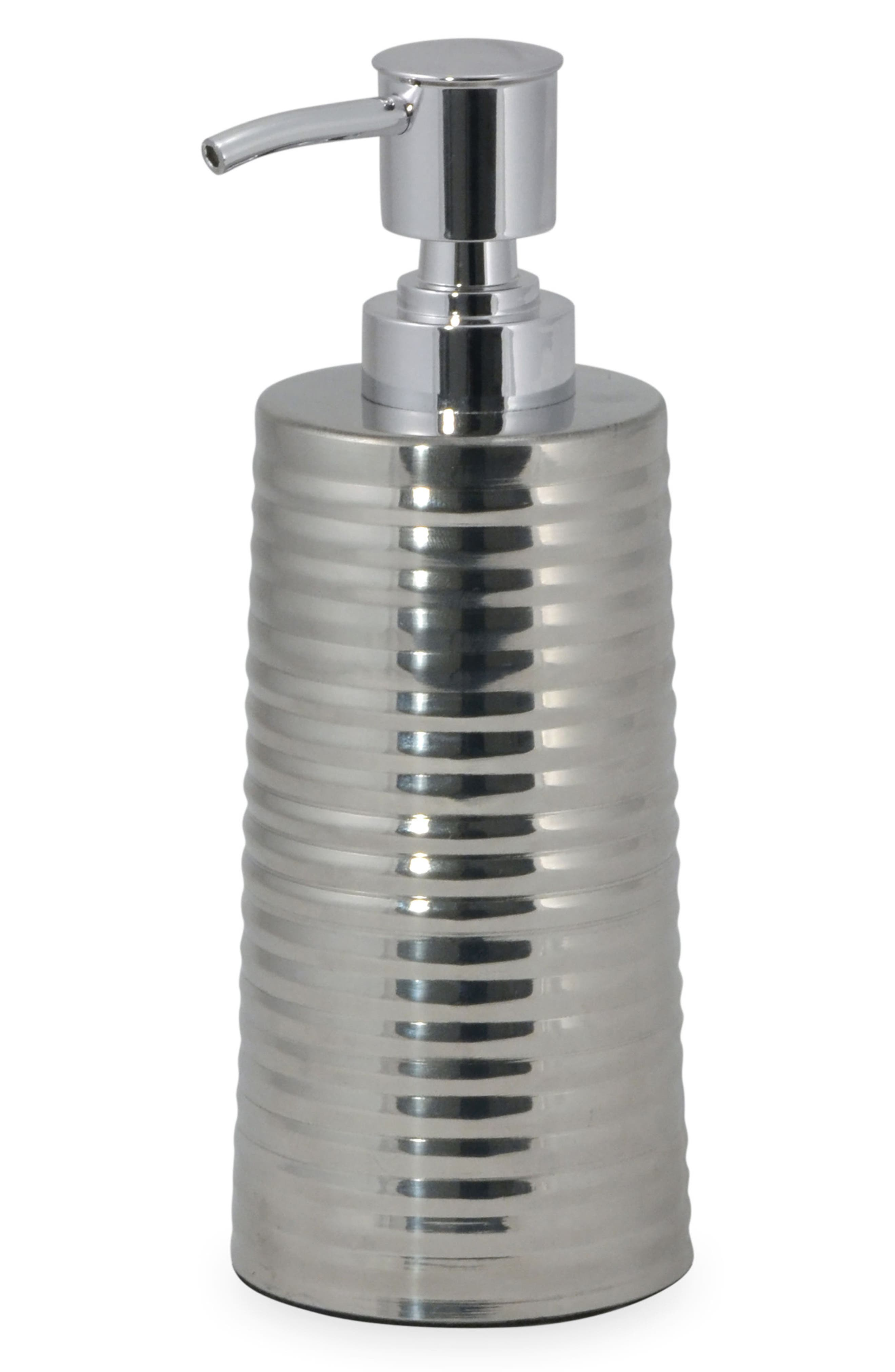 DKNY Corrugated Lotion Pump, Main, color, SILVER