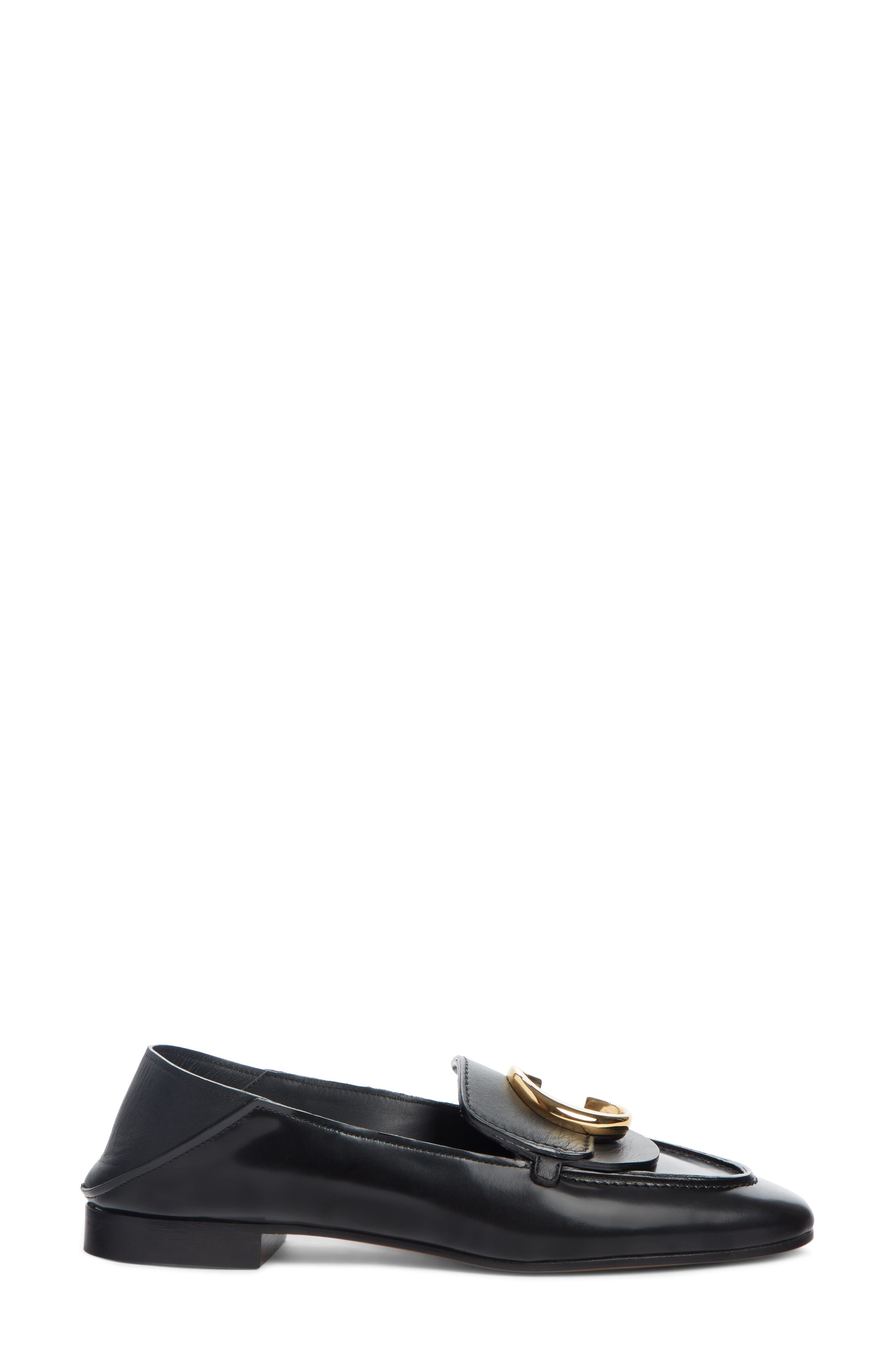 CHLOÉ, Story Convertible Loafer, Alternate thumbnail 3, color, BLACK LEATHER