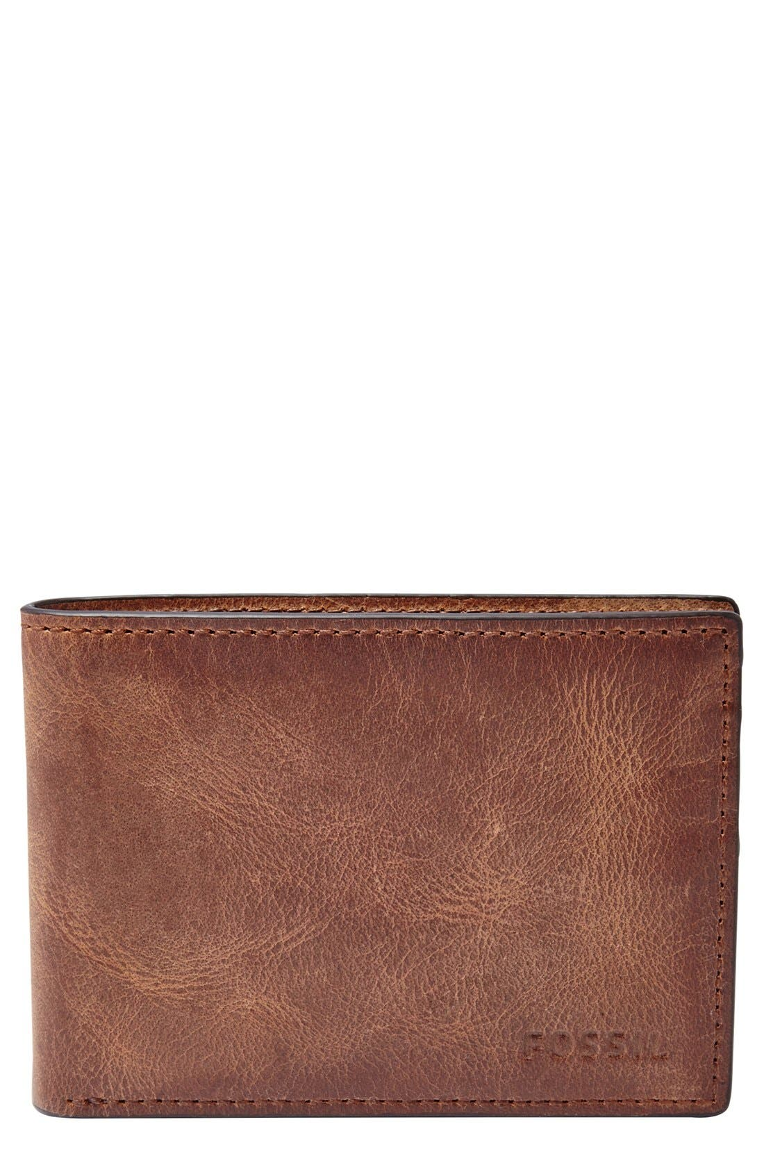 FOSSIL, 'Derrick' Leather Front Pocket Bifold Wallet, Main thumbnail 1, color, BROWN