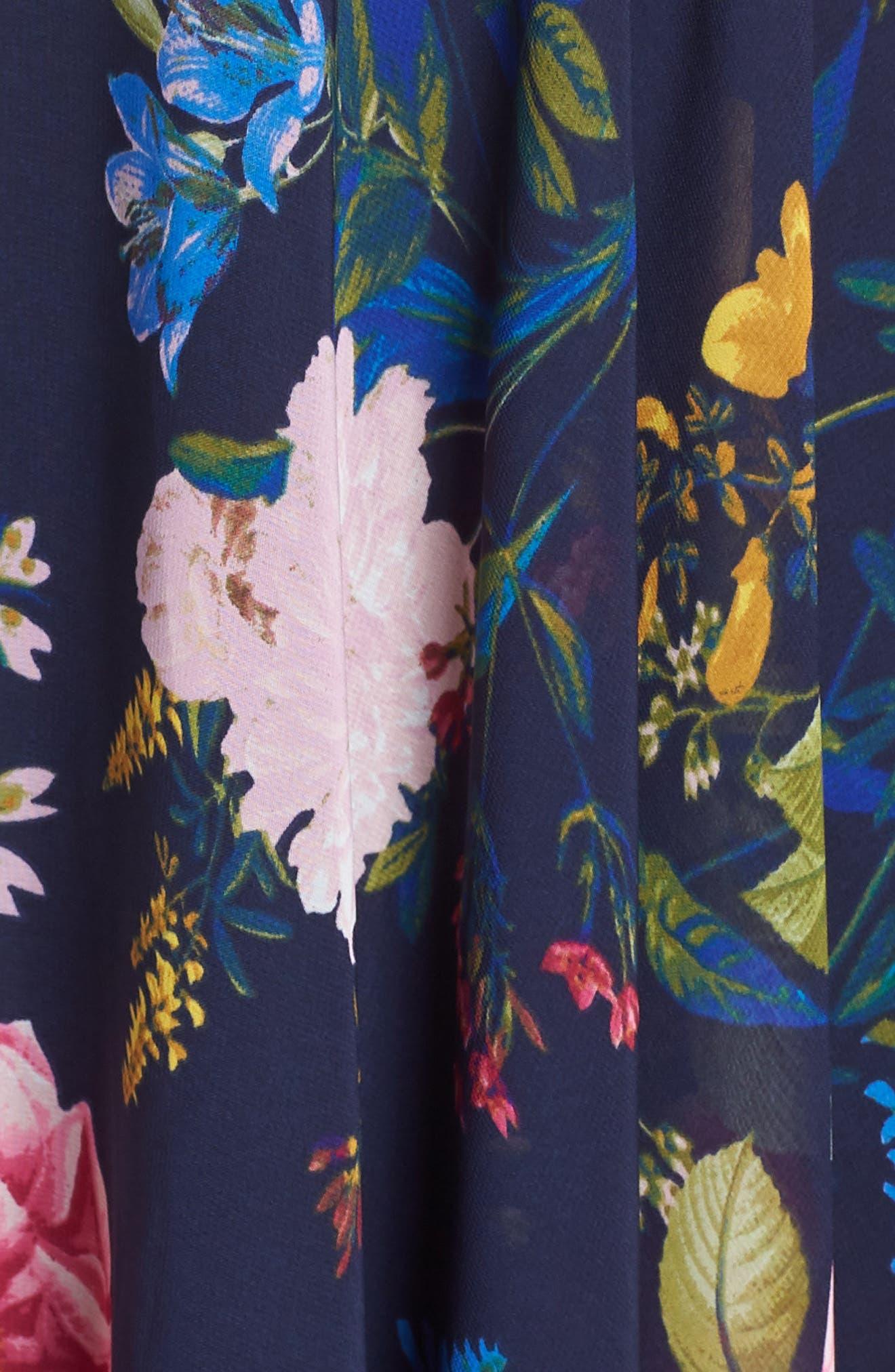 ELIZA J, Floral Print Chiffon Halter Dress, Alternate thumbnail 6, color, NAVY