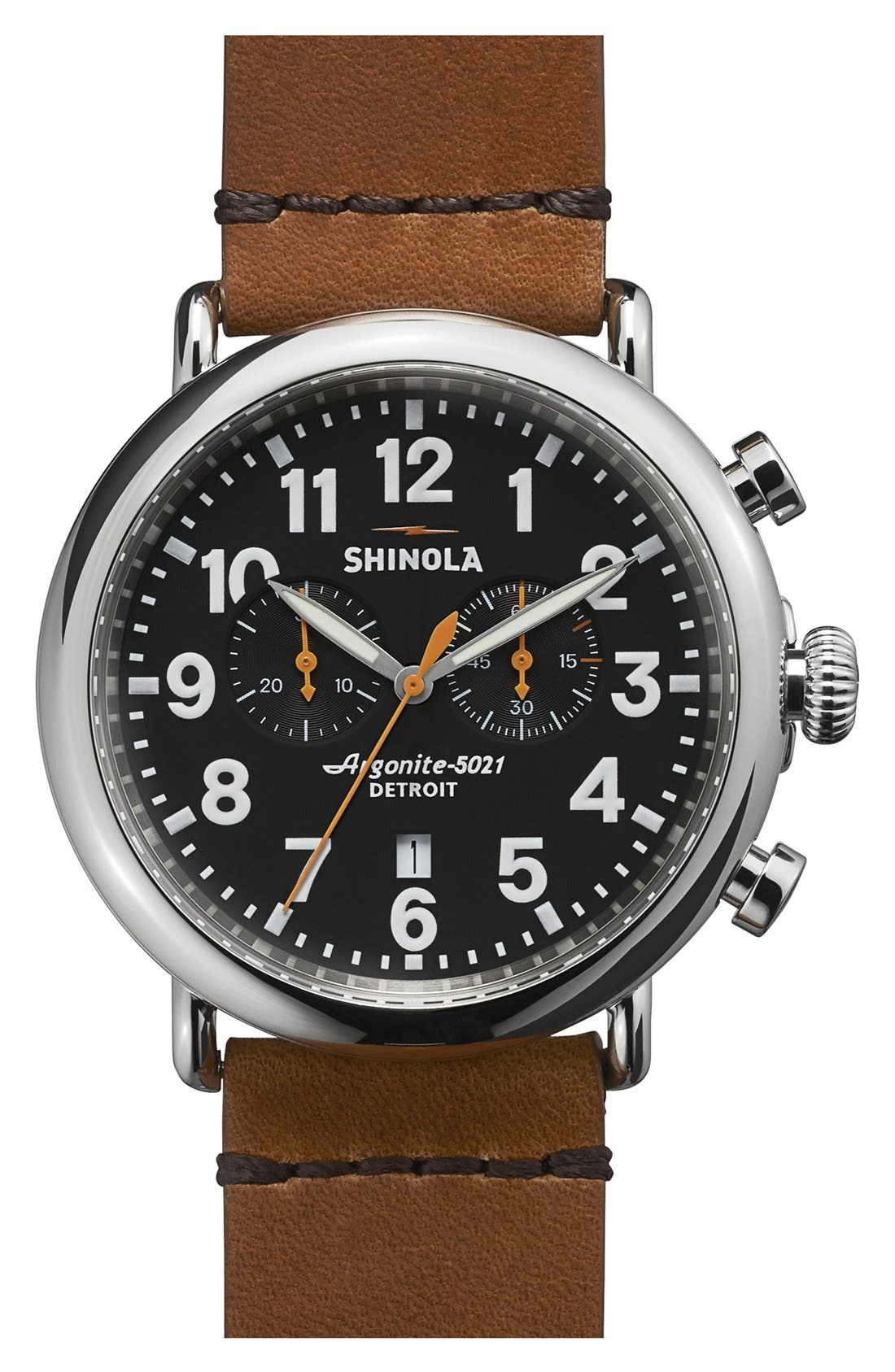 SHINOLA The Runwell Chrono Leather Strap Watch, 47mm, Main, color, BROWN/ BLACK