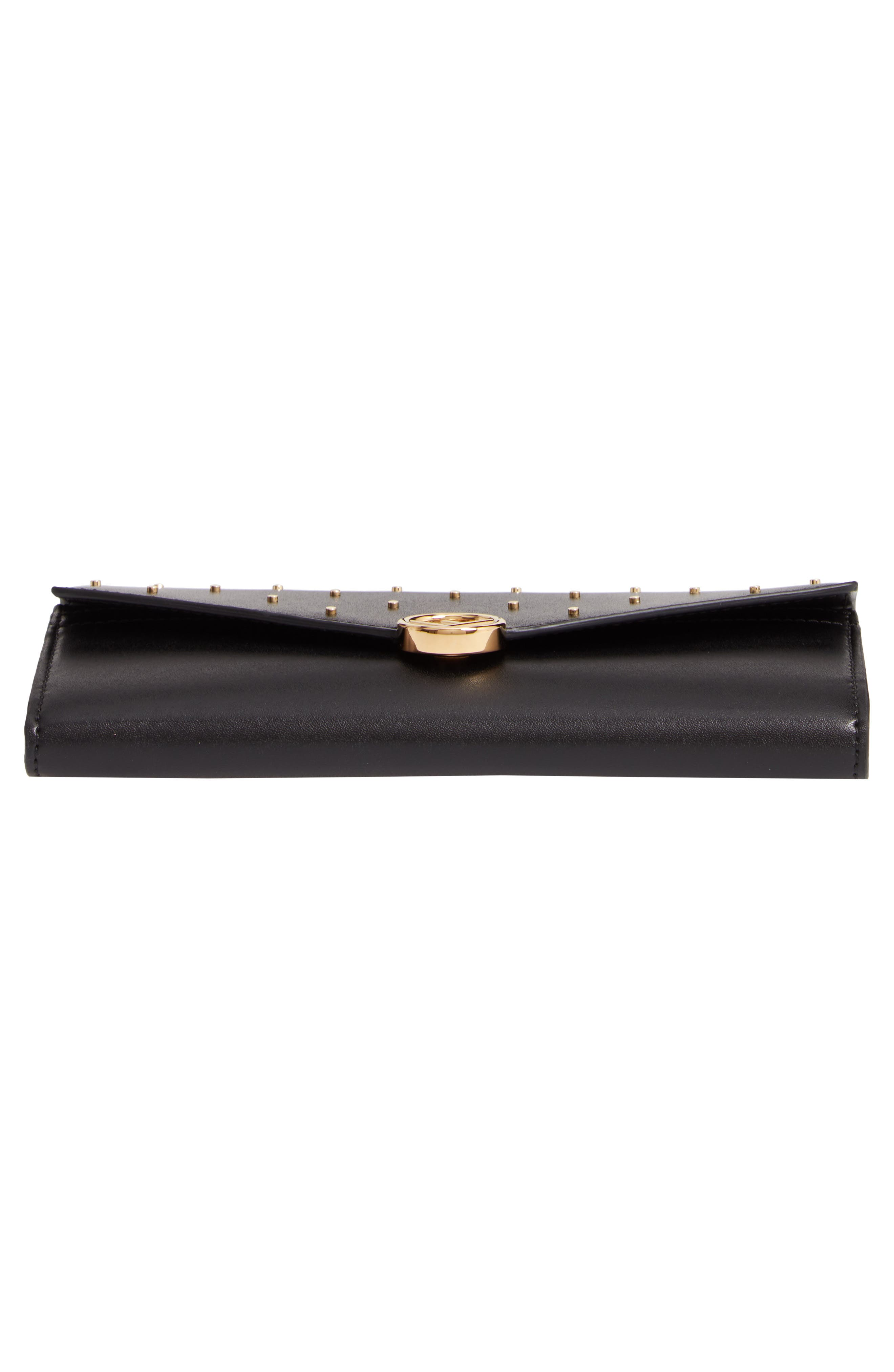 FENDI, Studded Calfskin Leather Continental Wallet on a Chain, Alternate thumbnail 6, color, 006