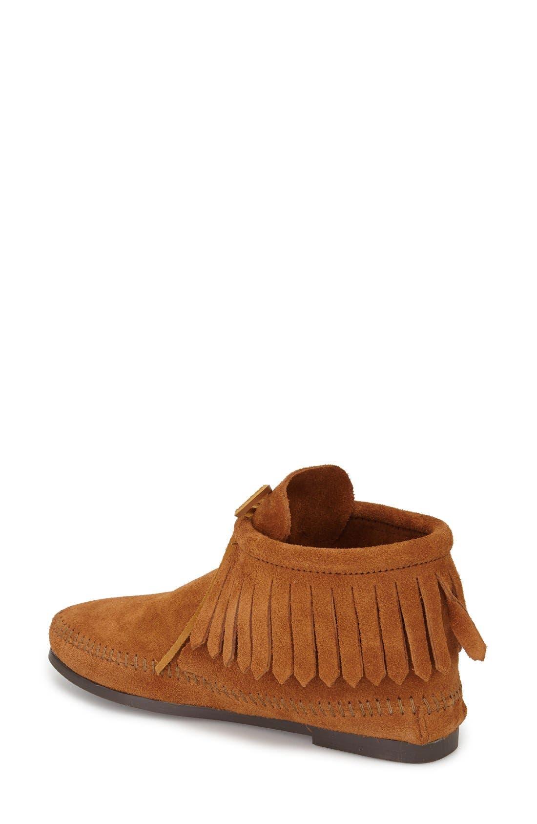 MINNETONKA, Classic Fringed Chukka Style Boot, Alternate thumbnail 2, color, BROWN