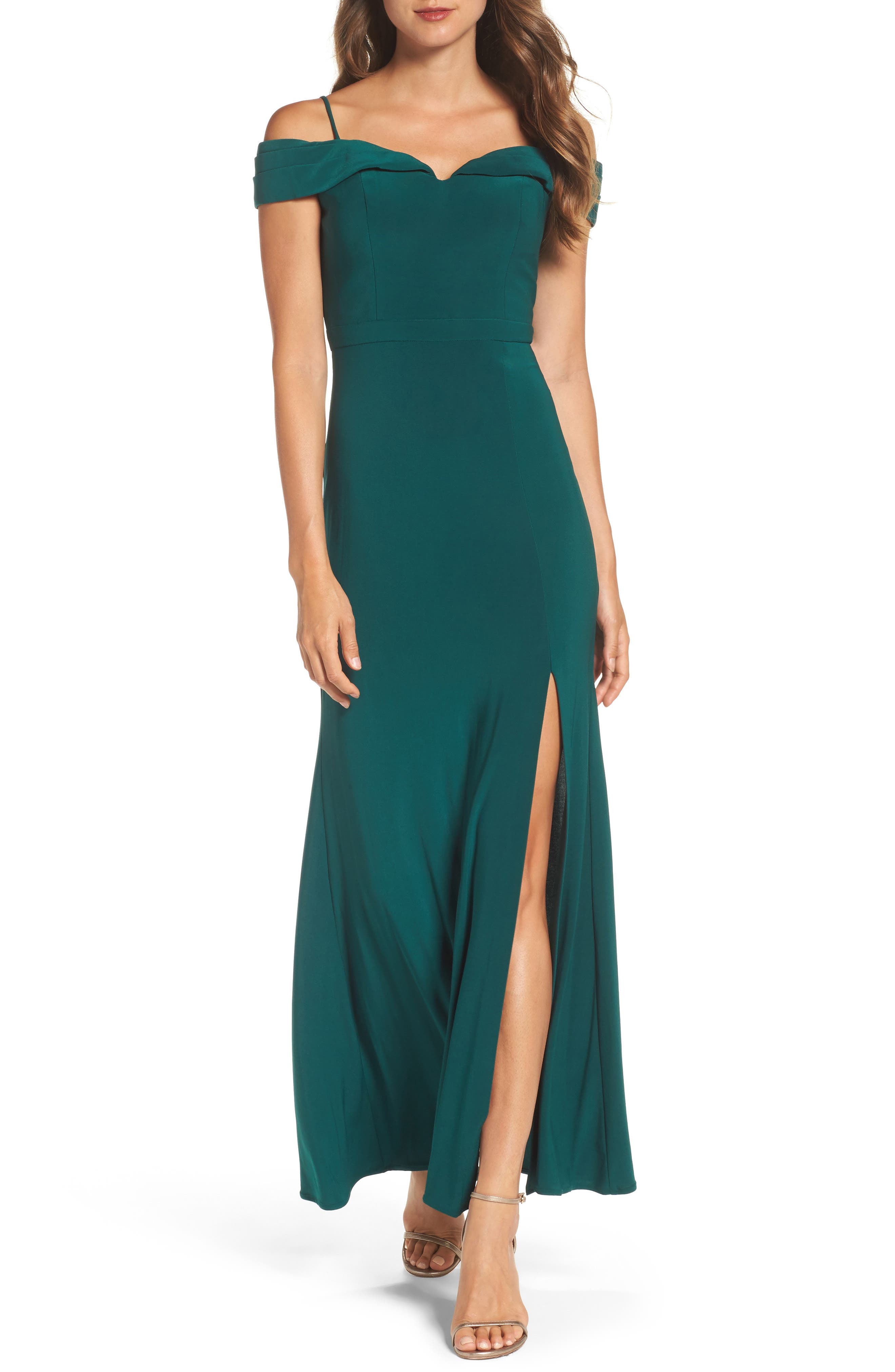 MORGAN & CO., Off the Shoulder Gown, Main thumbnail 1, color, PINE