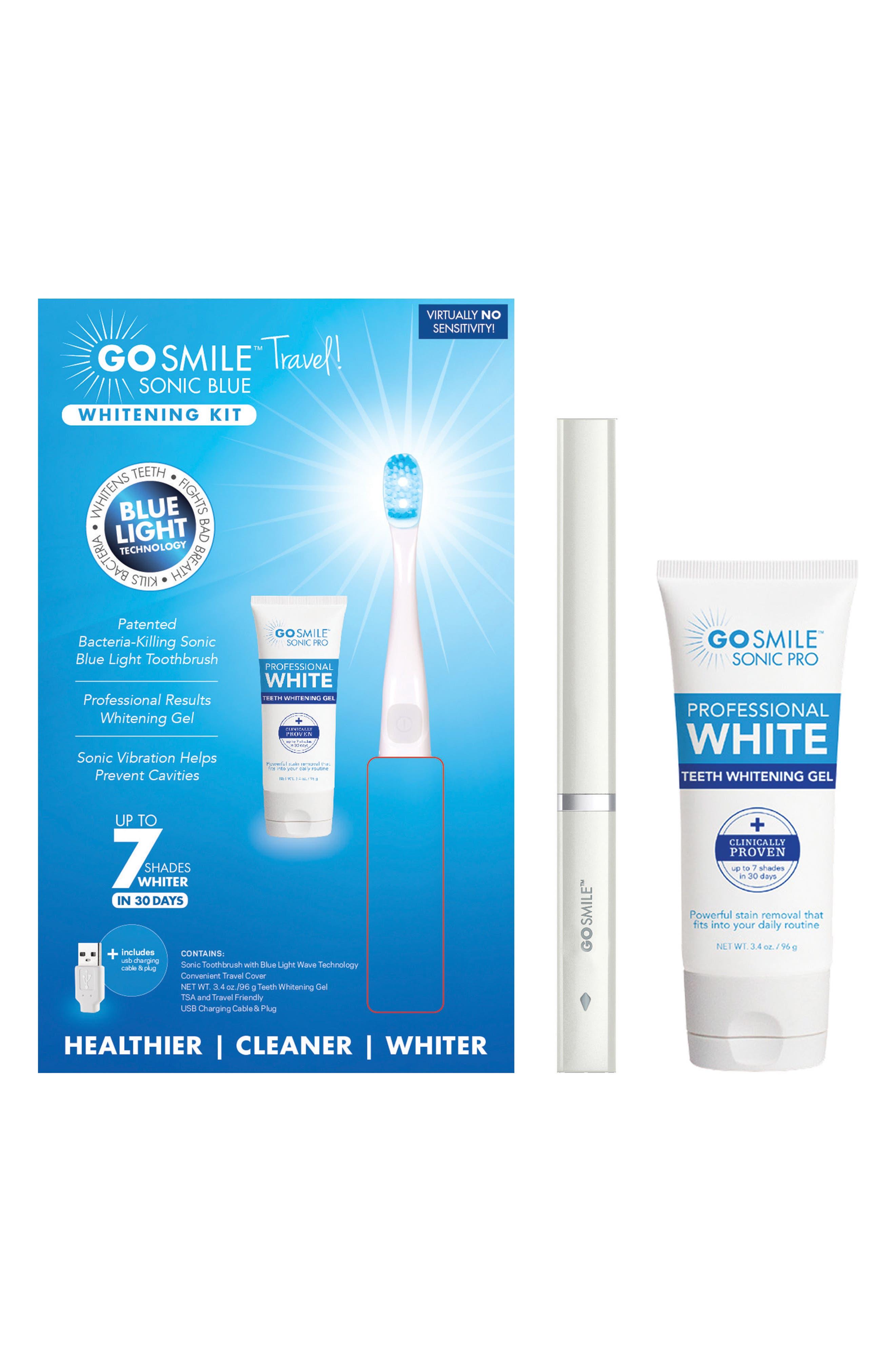 GO SMILE<SUP>®</SUP>, 'Dental Pro On-the-Go - Sonic Blue' Teeth Whitening System, Alternate thumbnail 2, color, WHITE
