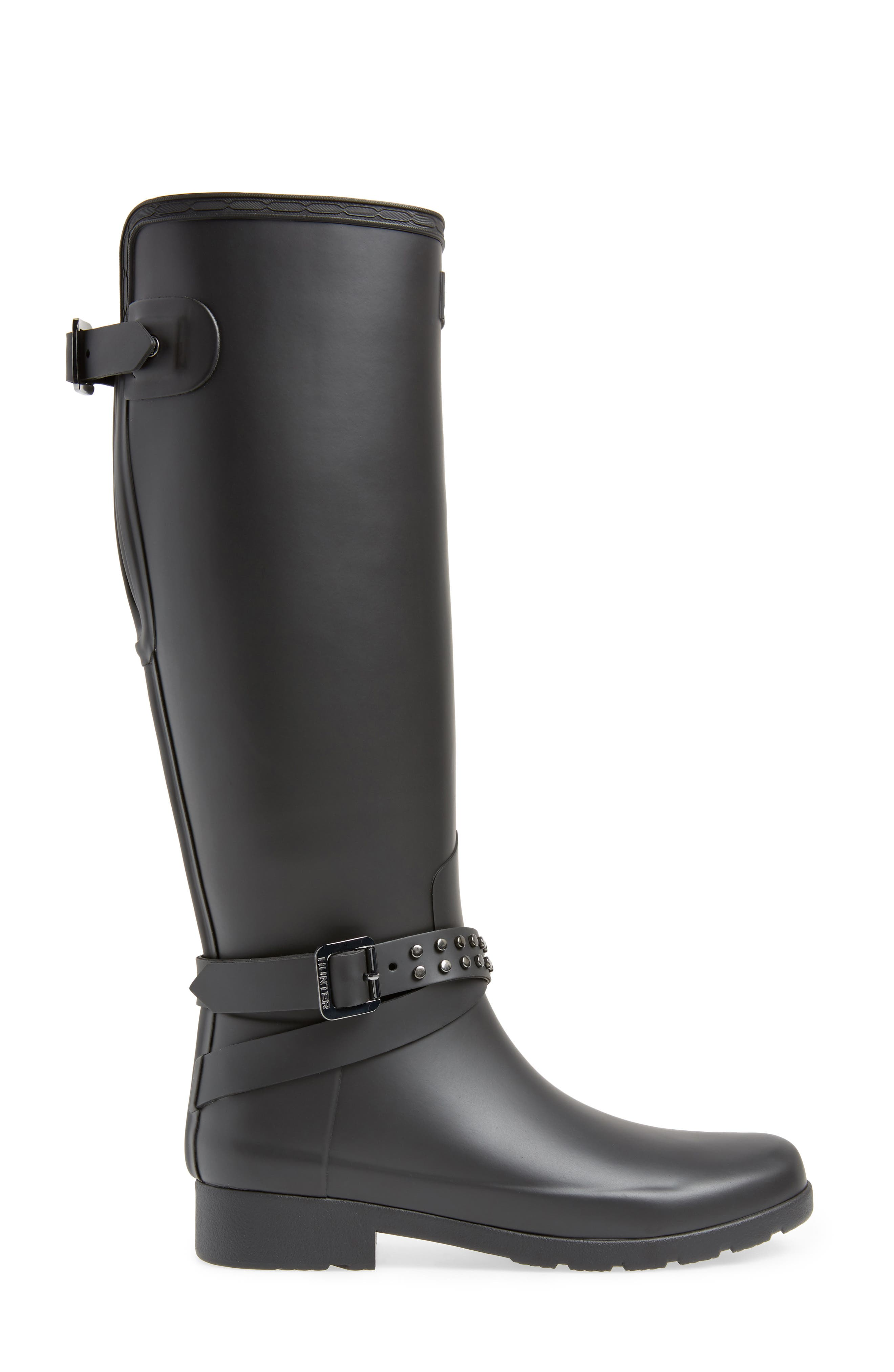 HUNTER, Refined Adjustable Back Knee High Waterproof Rain Boot, Alternate thumbnail 3, color, BLACK