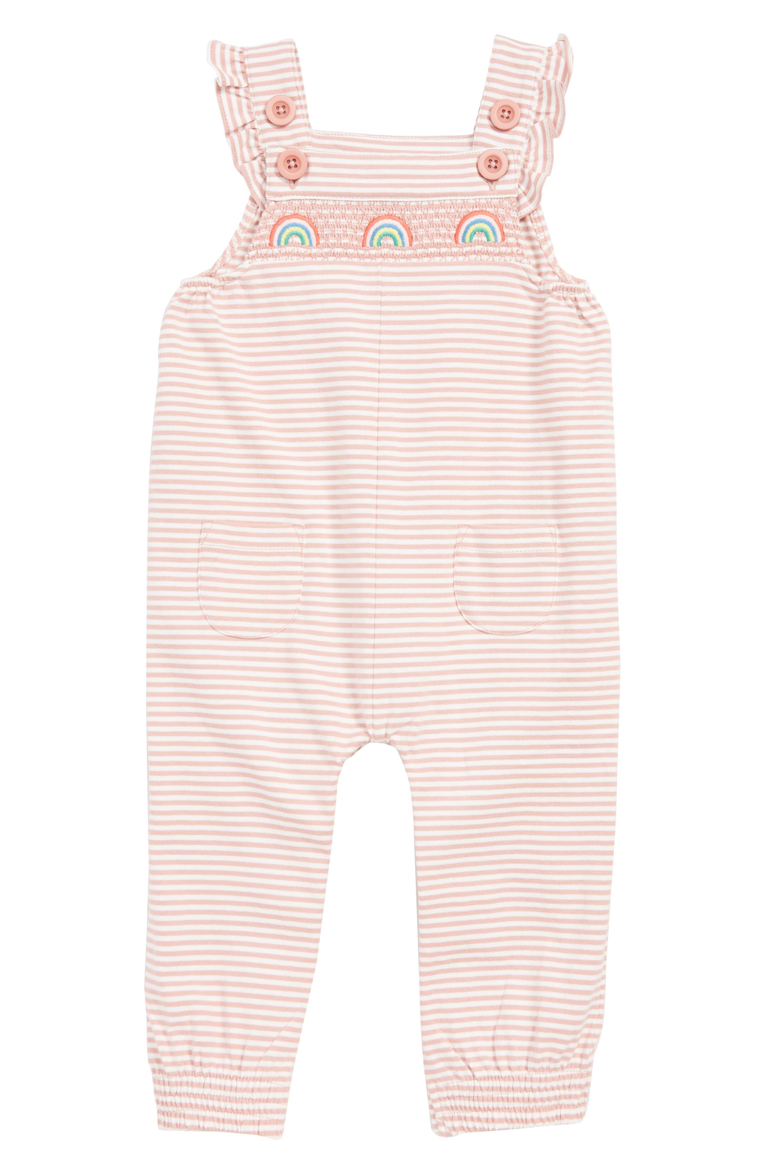 Infant Girls Mini Boden Smocked Rainbow Jersey Romper Size 612M  Pink
