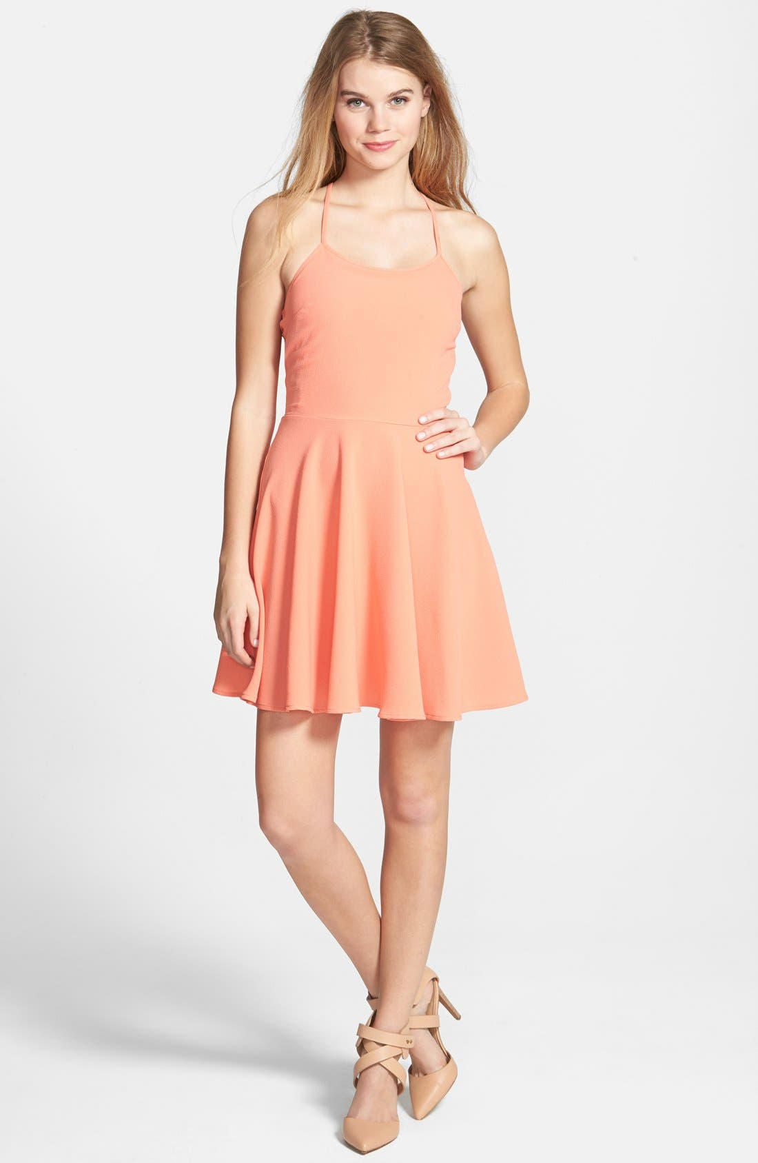 DEE ELLY, dee elle Crochet Back Skater Dress, Main thumbnail 1, color, 650