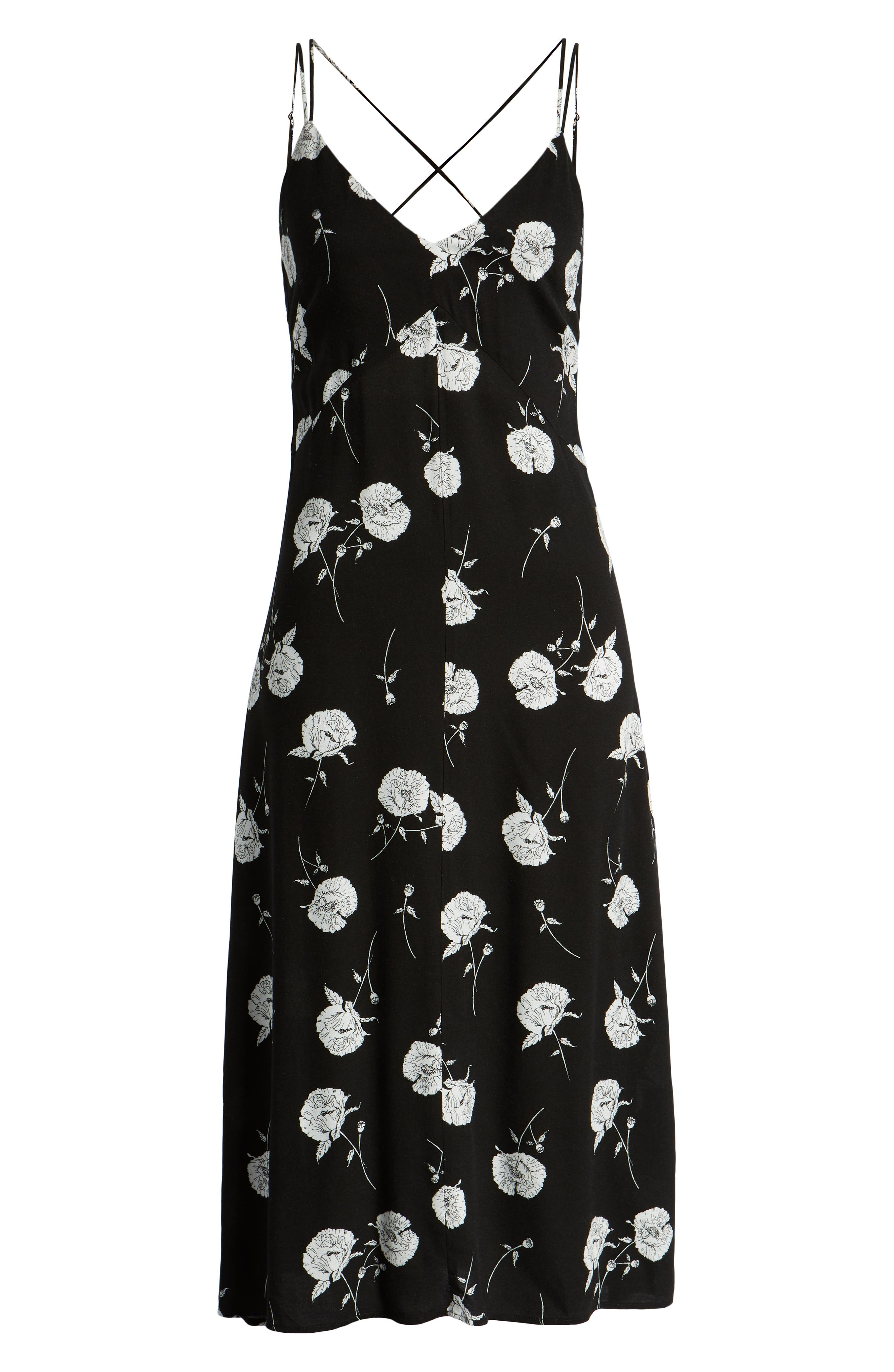 LEITH, Floral Strappy Midi Dress, Alternate thumbnail 7, color, BLACK TWO FLORAL