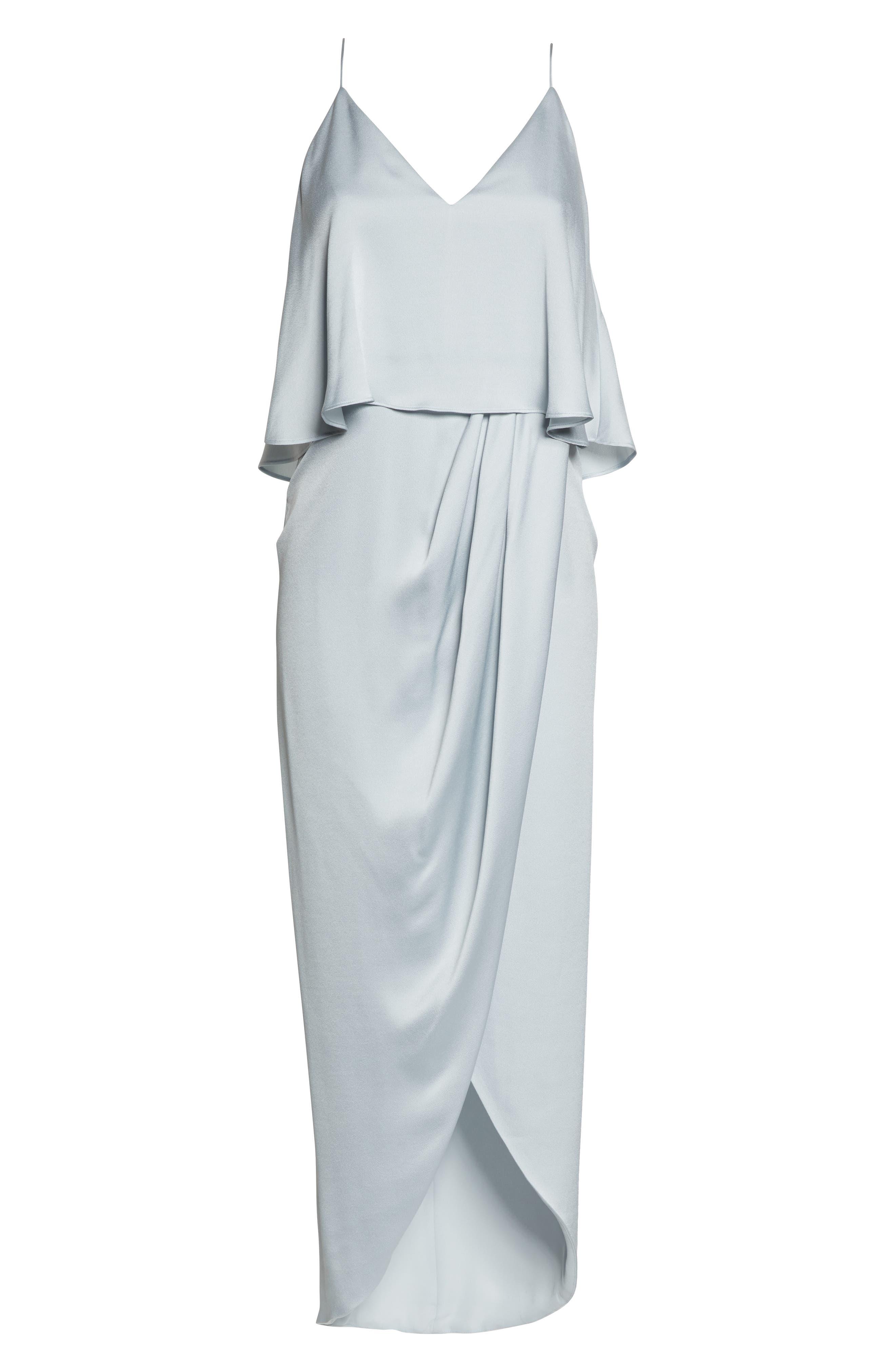 SHONA JOY, Luxe Frill Tulip Hem Maxi Dress, Alternate thumbnail 7, color, CLOUD