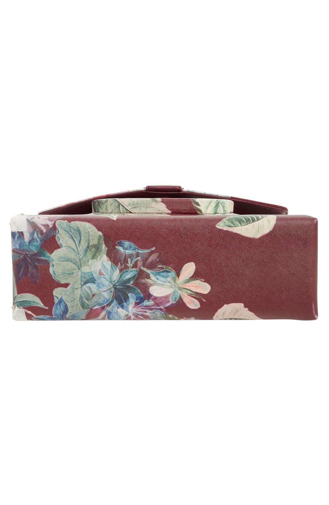 TED BAKER LONDON, Floral Print Faux Leather Satchel, Alternate thumbnail 2, color, 930