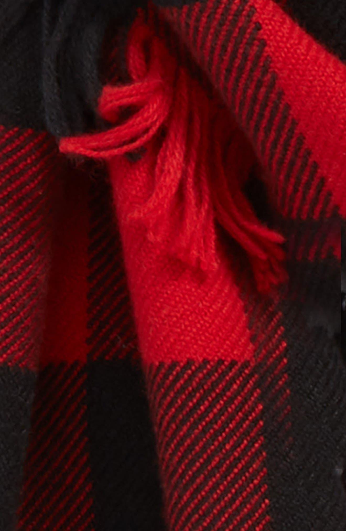 BURBERRY, Mega Fashion Fringe Wool Scarf, Alternate thumbnail 4, color, MILITARY RED