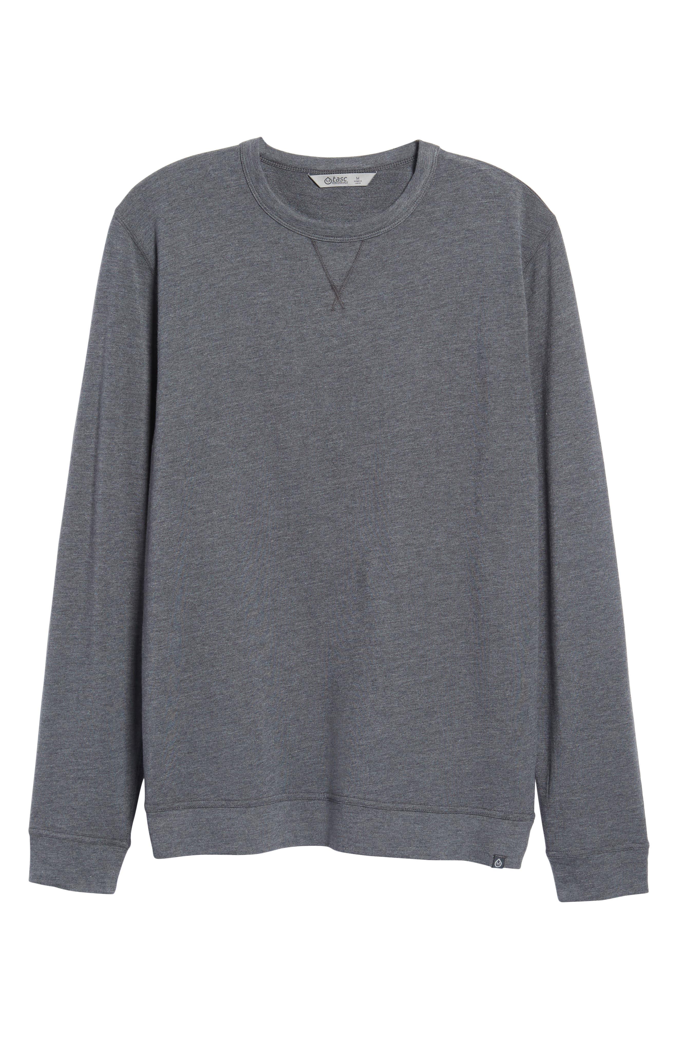 TASC PERFORMANCE, Legacy Crewneck Sweatshirt, Alternate thumbnail 6, color, BLACK HEATHER