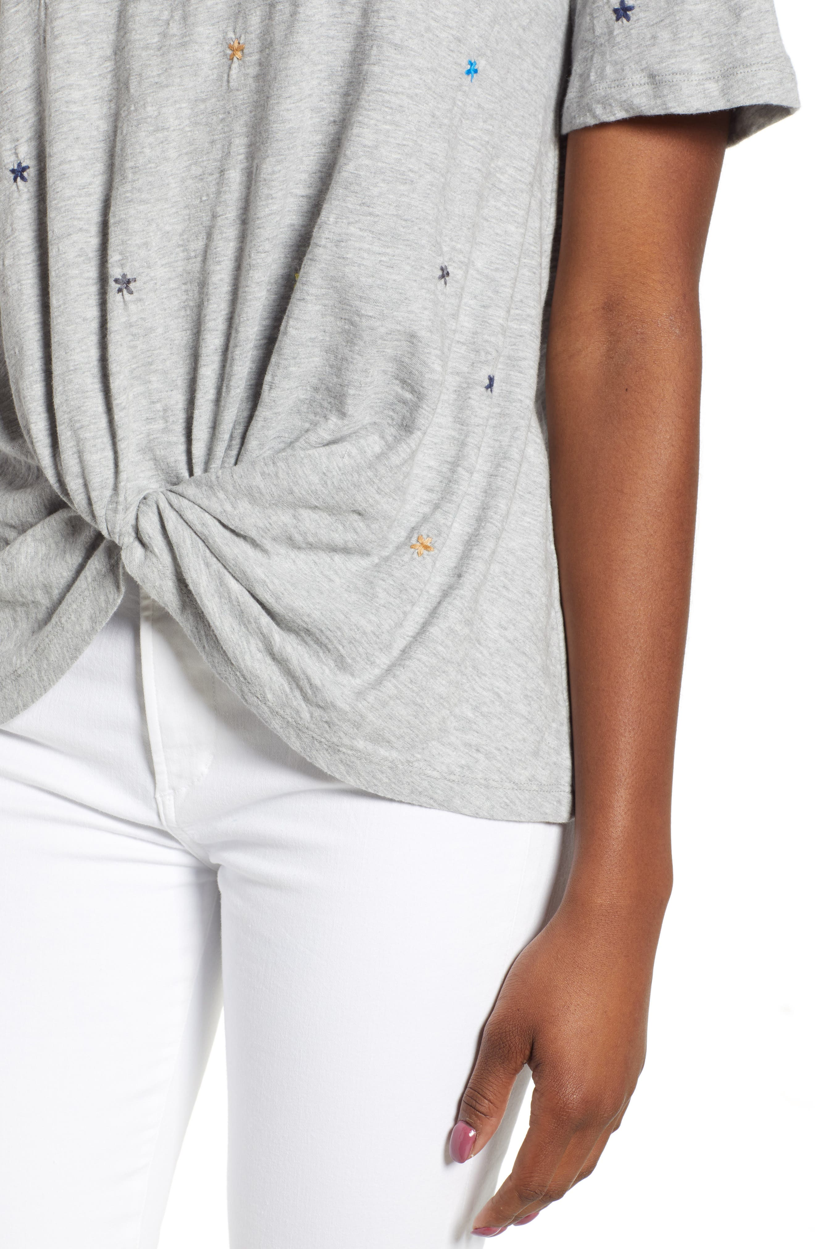 CASLON<SUP>®</SUP>, Embroidered Twist Front Top, Alternate thumbnail 4, color, GREY HEATHER
