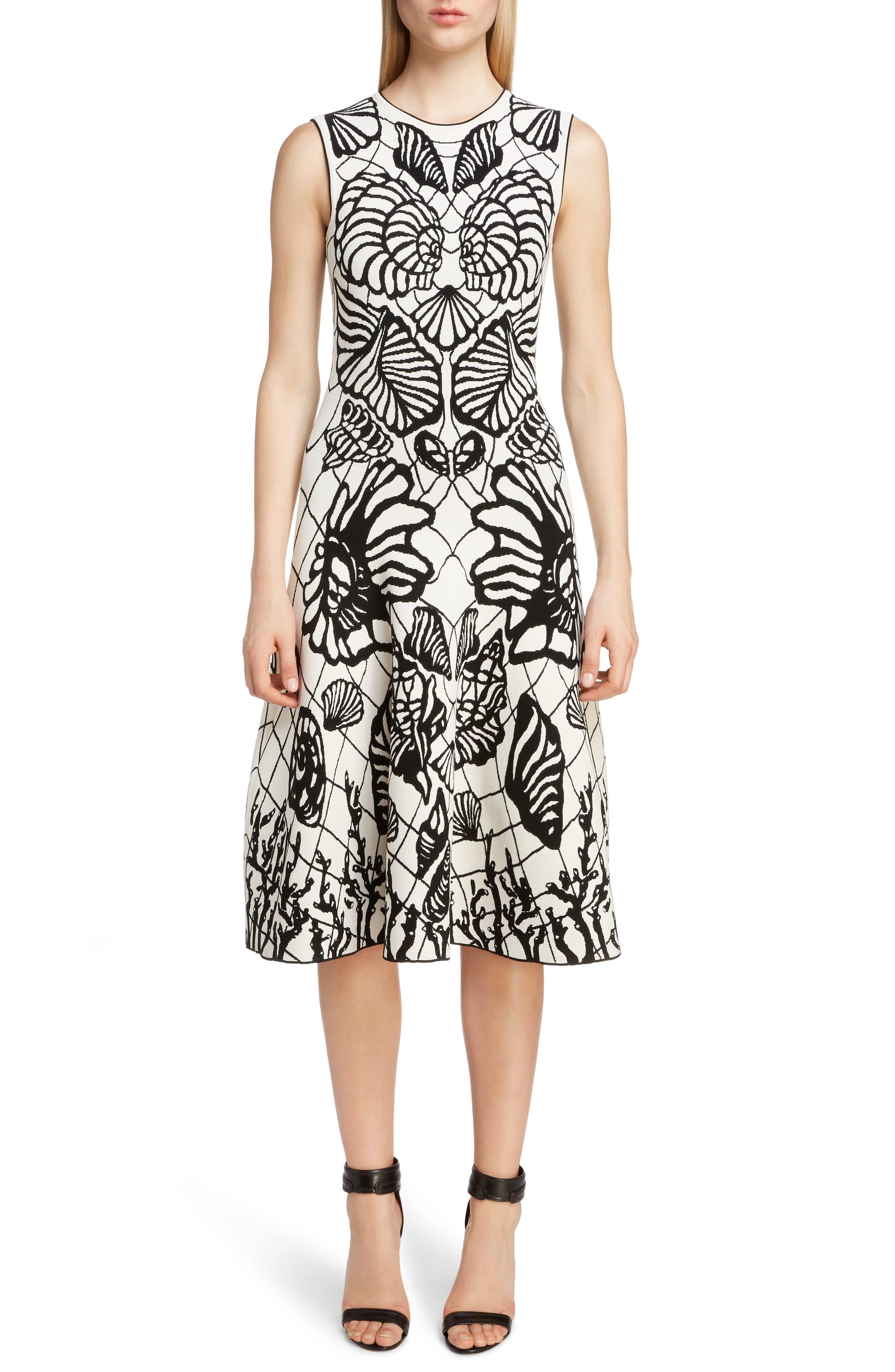 Alexander Mcqueen Shell Jacquard A-Line Dress, Ivory