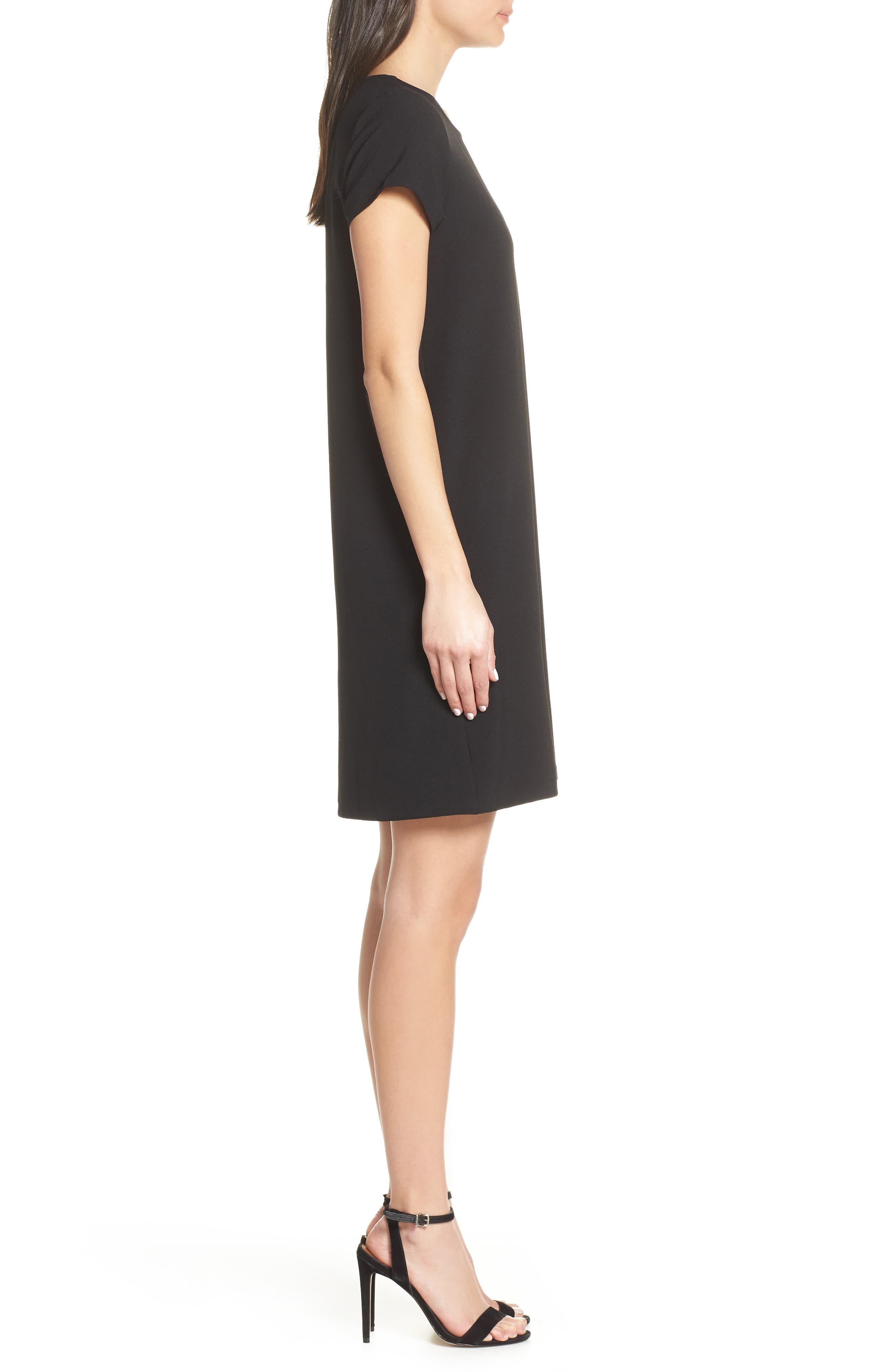 CHELSEA28, Crepe Shift Dress, Alternate thumbnail 5, color, BLACK