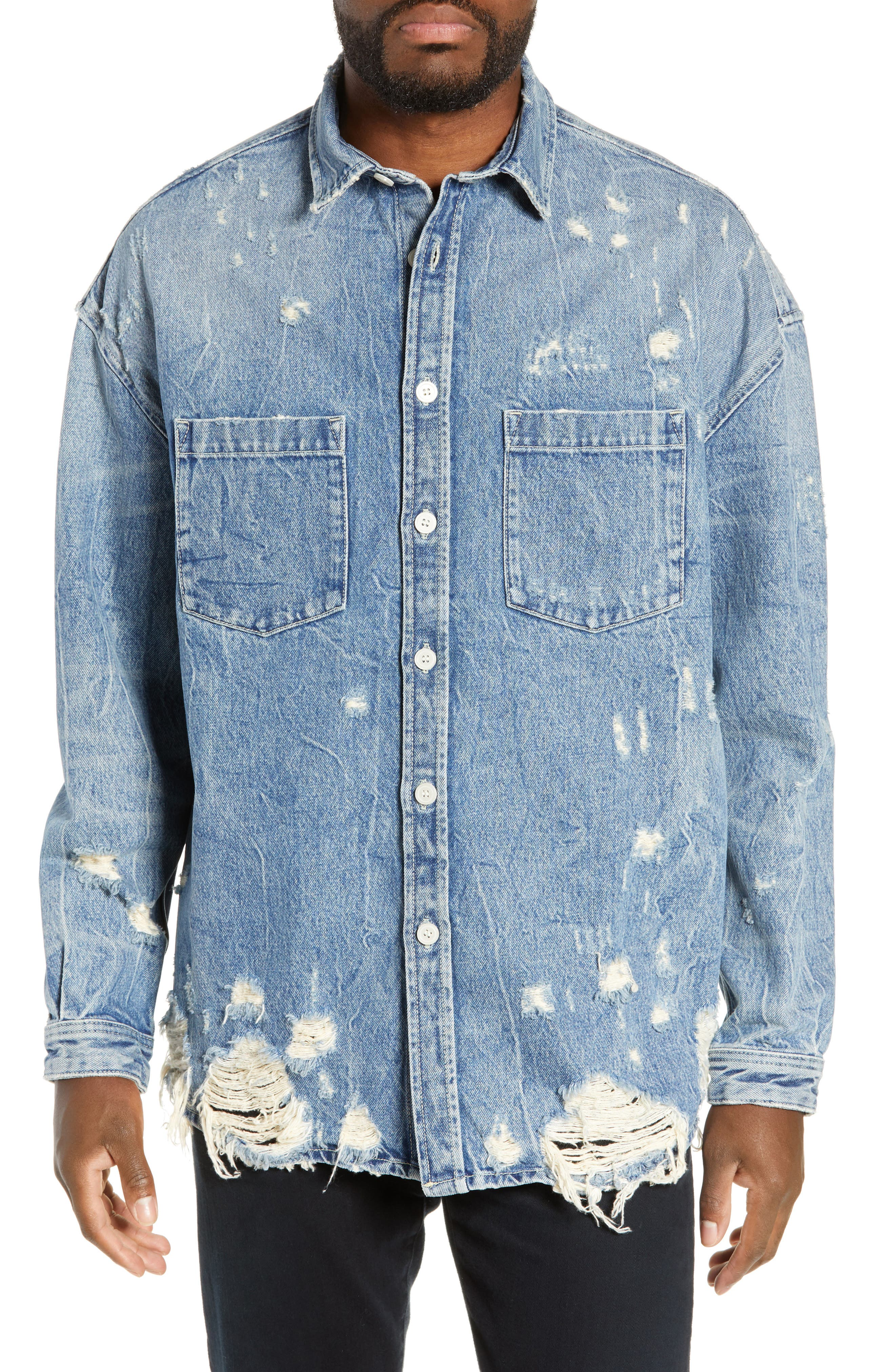 THE KOOPLES, Distressed Denim Overshirt, Alternate thumbnail 5, color, BLUE DENIM